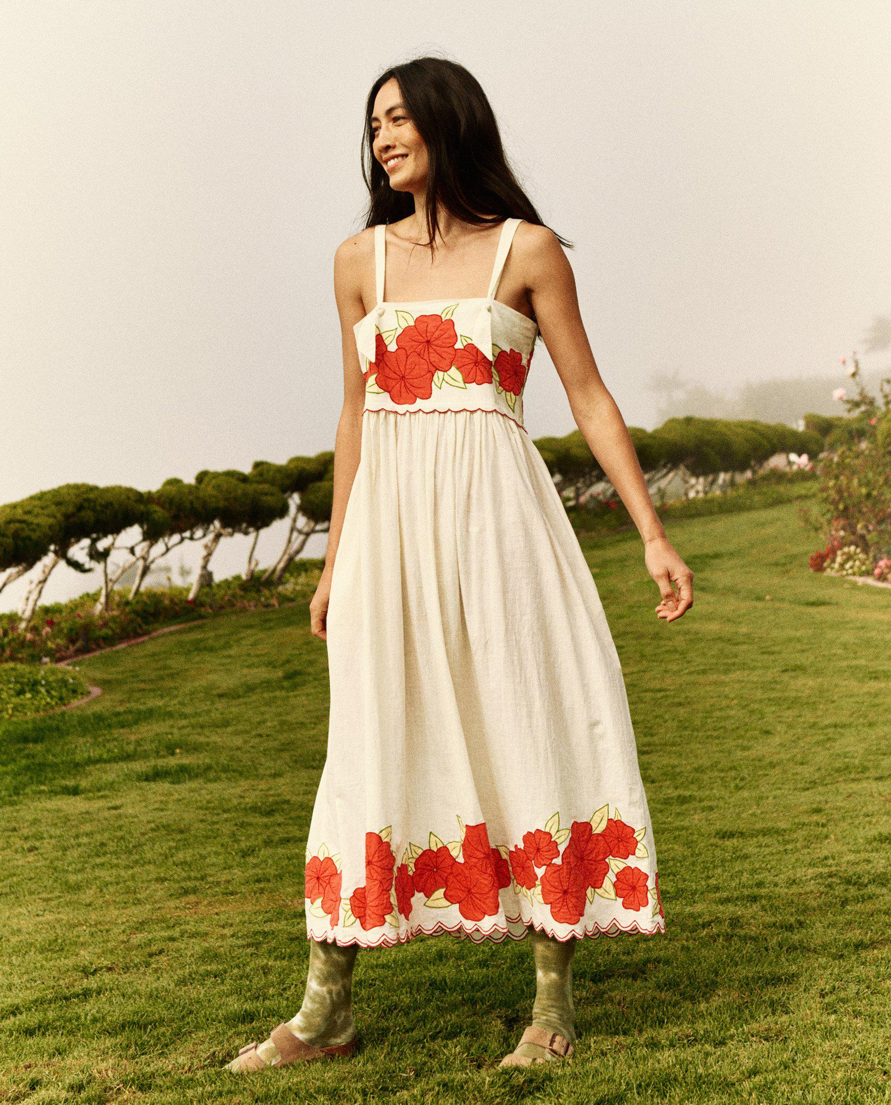 The Applique Floral Horizon Dress. -- Cream with Red 1