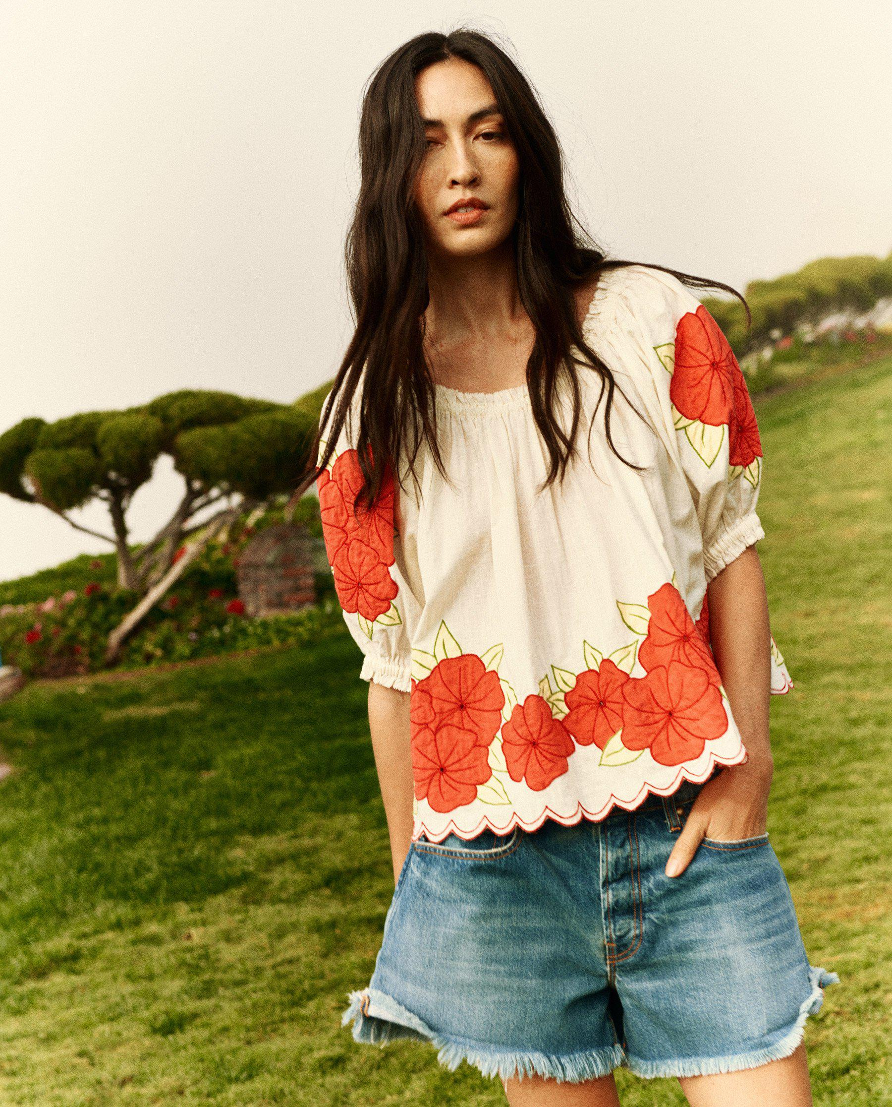 The Applique Floral Garland Top. -- Cream with Red
