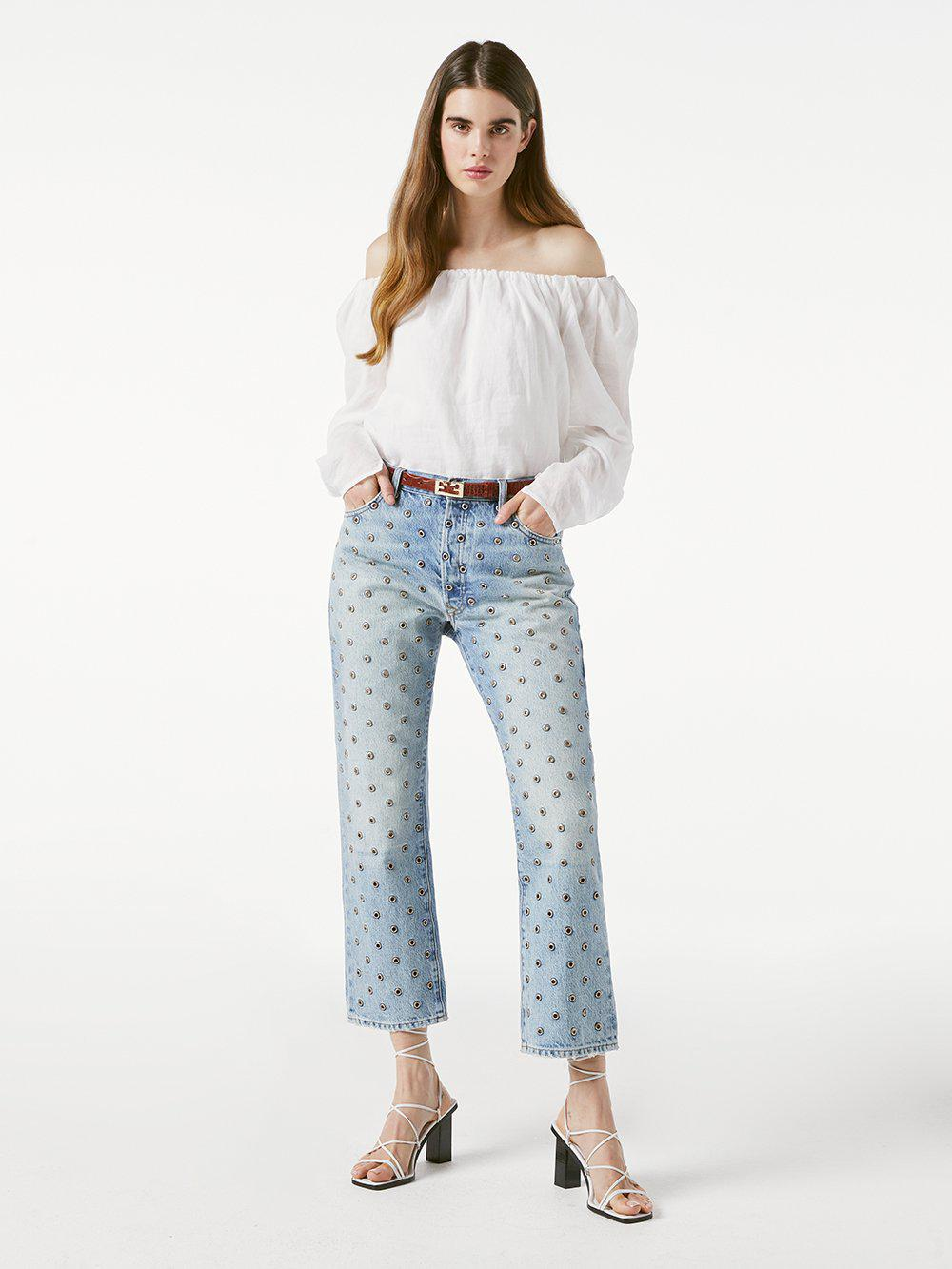 Le Slouch Crop All Over Grommet
