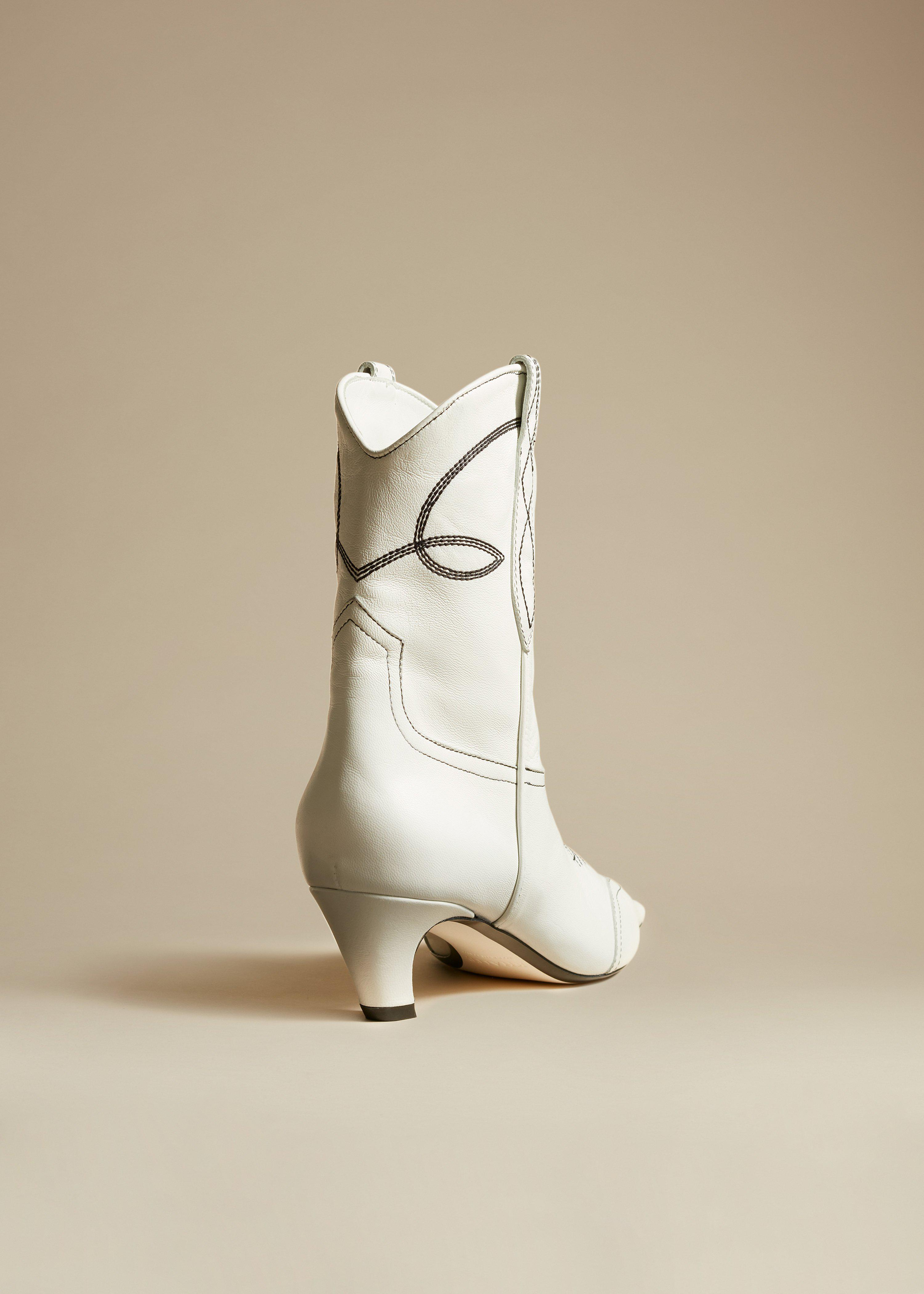 The Dallas Ankle Boot in White Leather 2