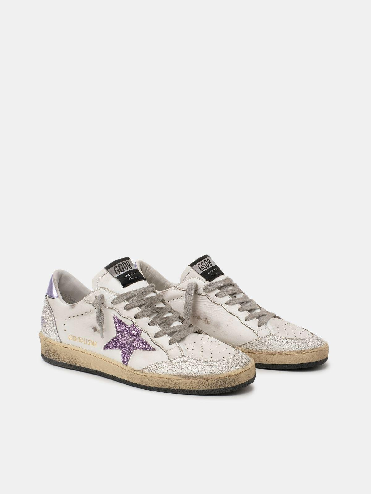 Ball Star sneakers with purple glitter 2