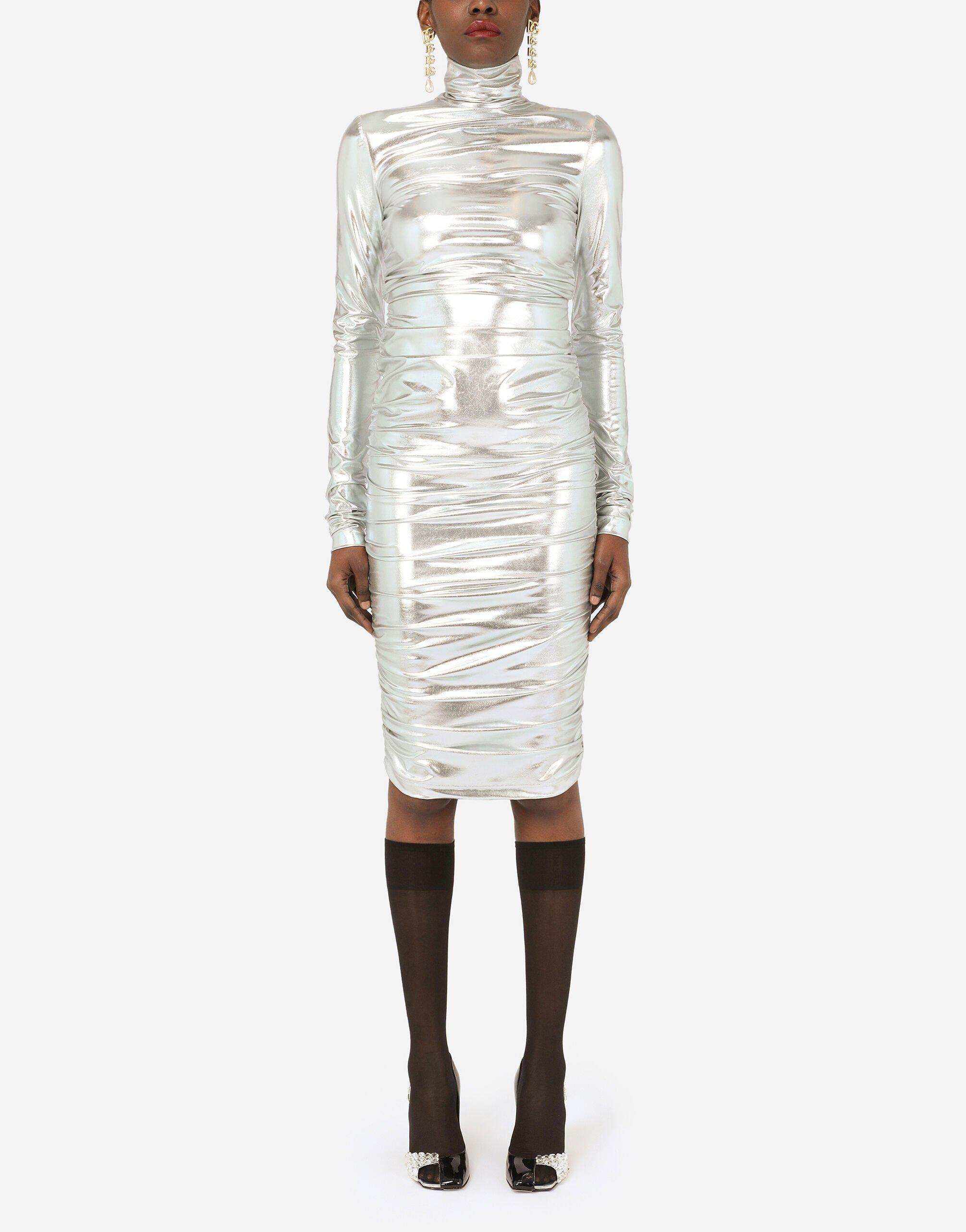 Foiled jersey mini dress with draping