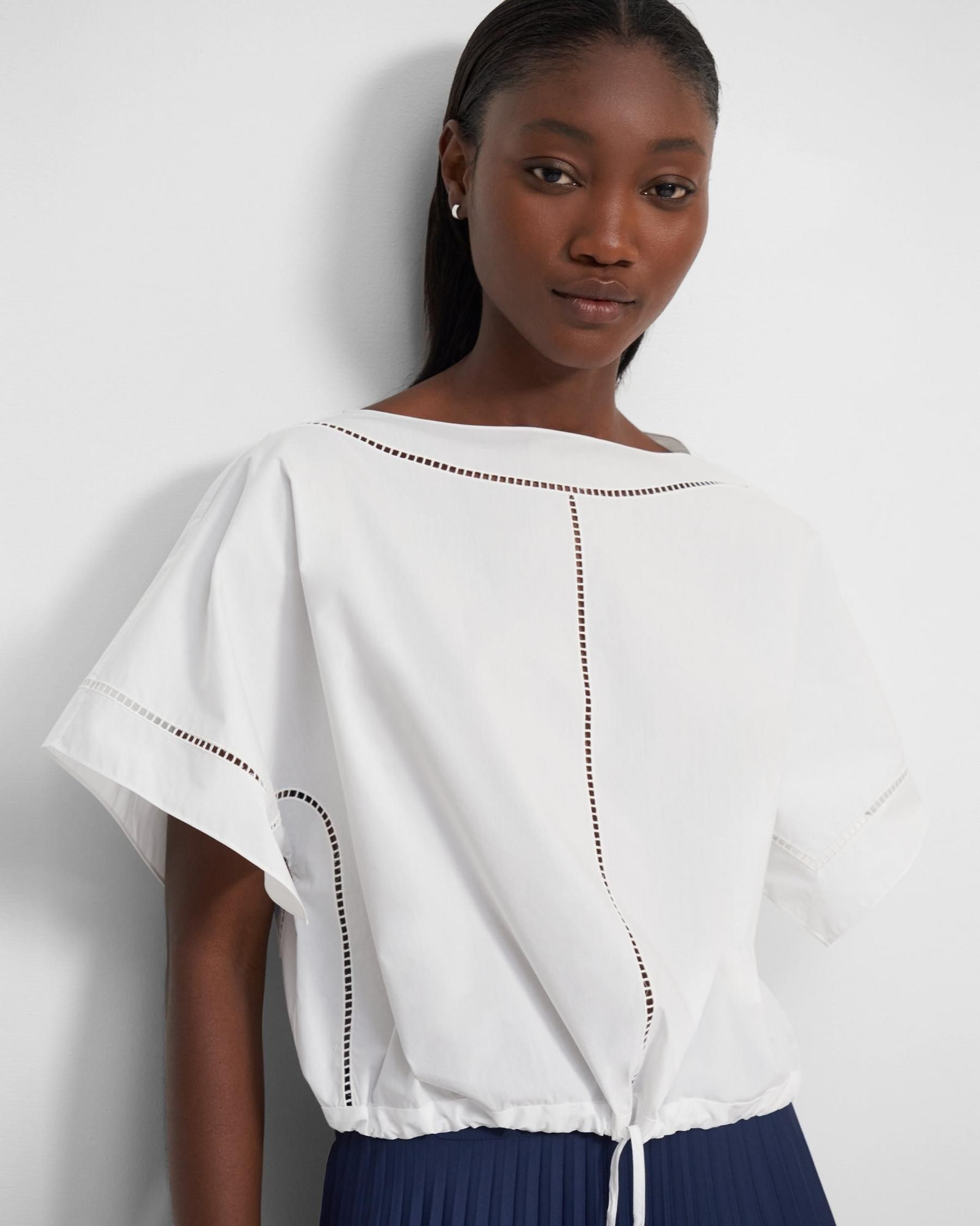 Short-Sleeve Top in Eyelet Cotton