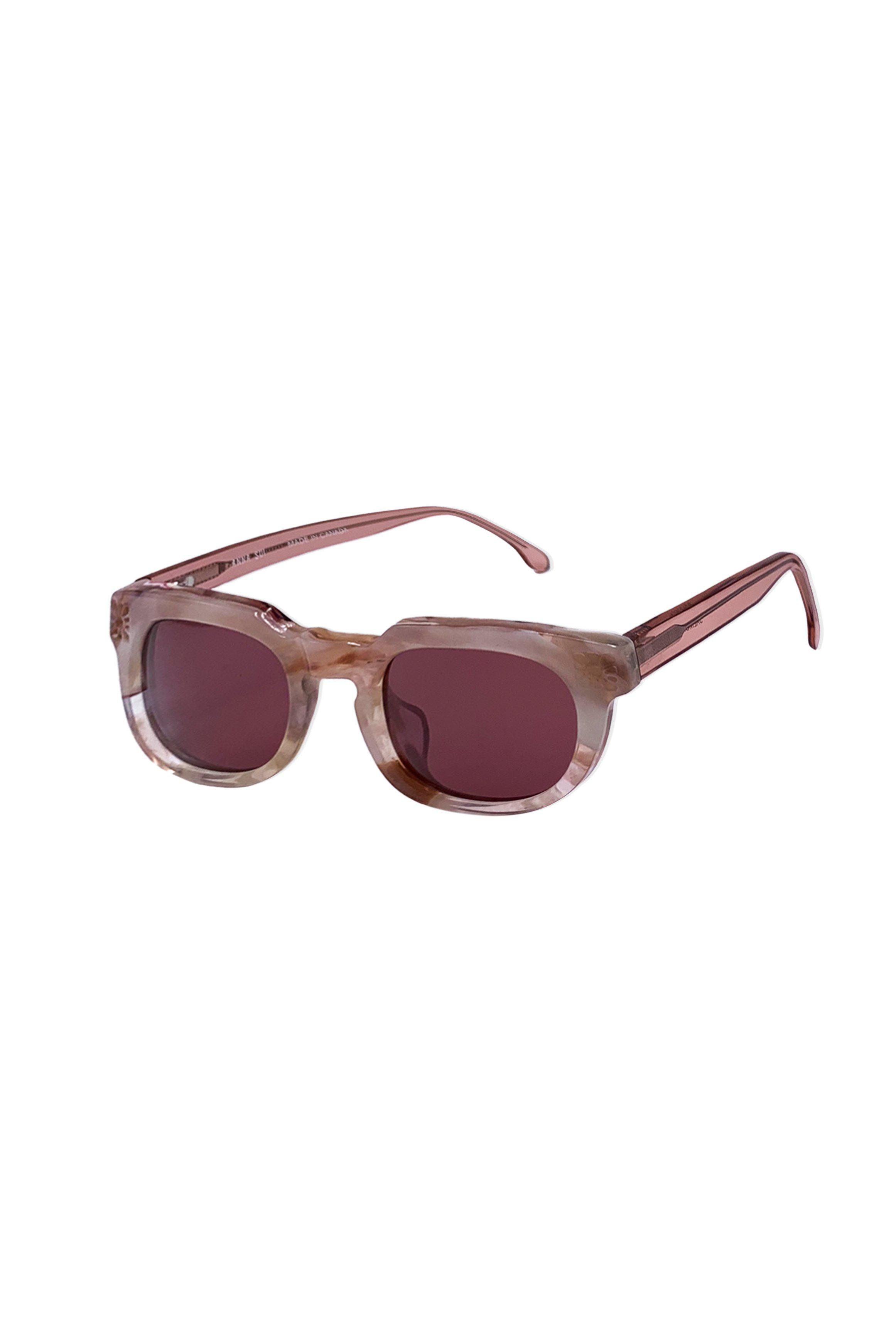Recycled Acetate Square Sunglasses in Rose