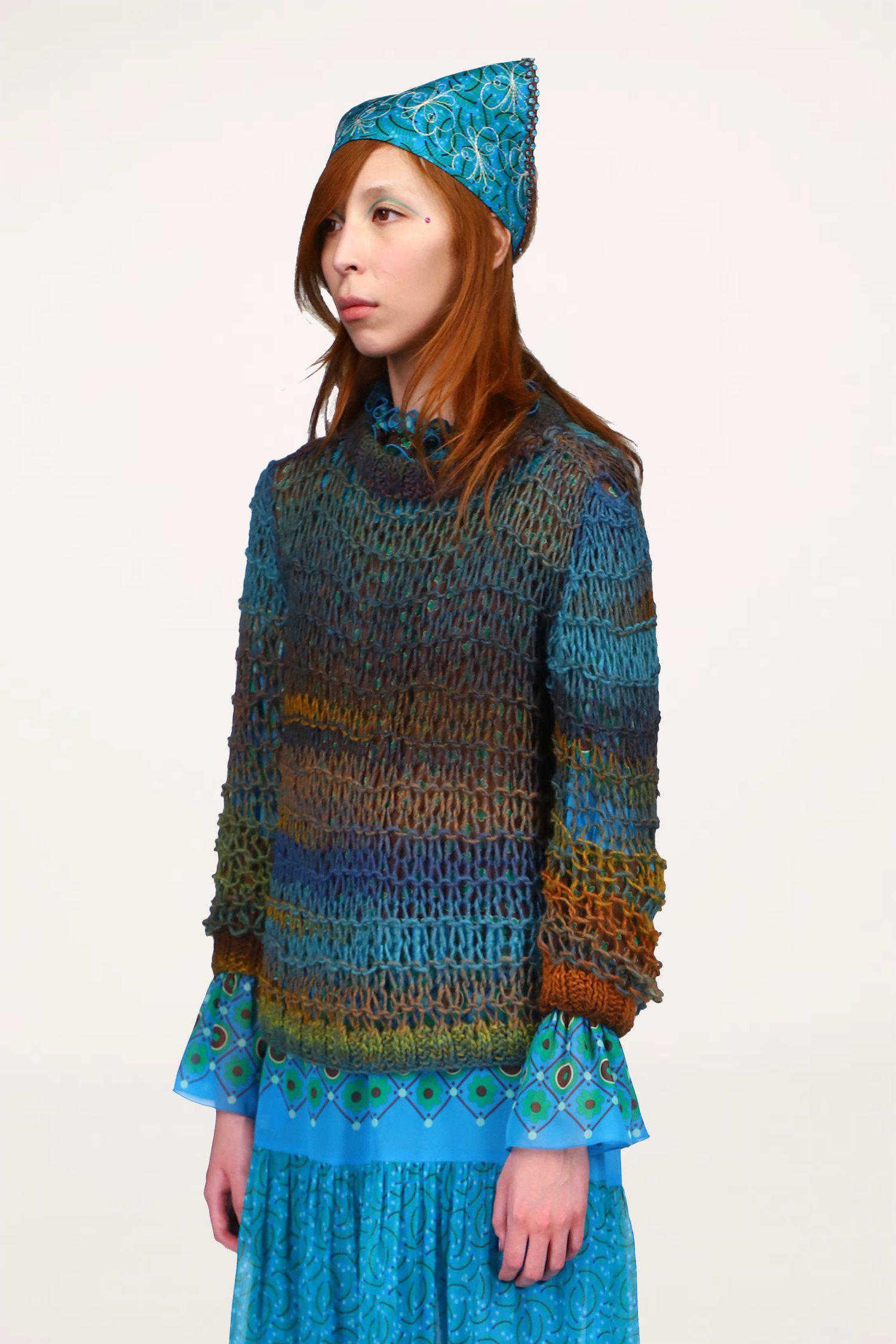 Sunset Spacedye Knit Sweater Turquoise