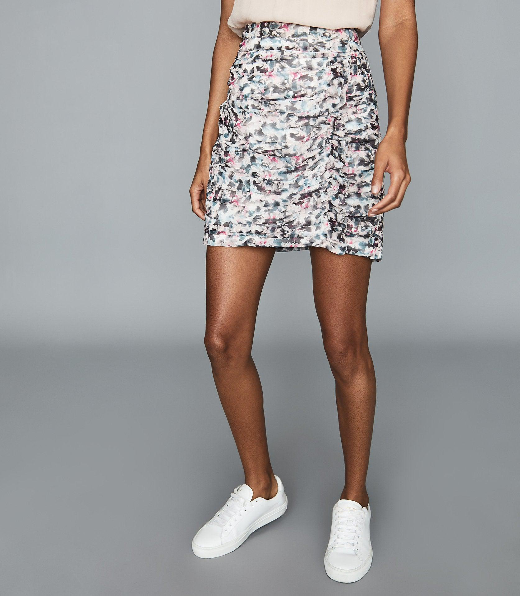 LUCIELLE - FLORAL PRINT RUCHED MINI SKIRT 1