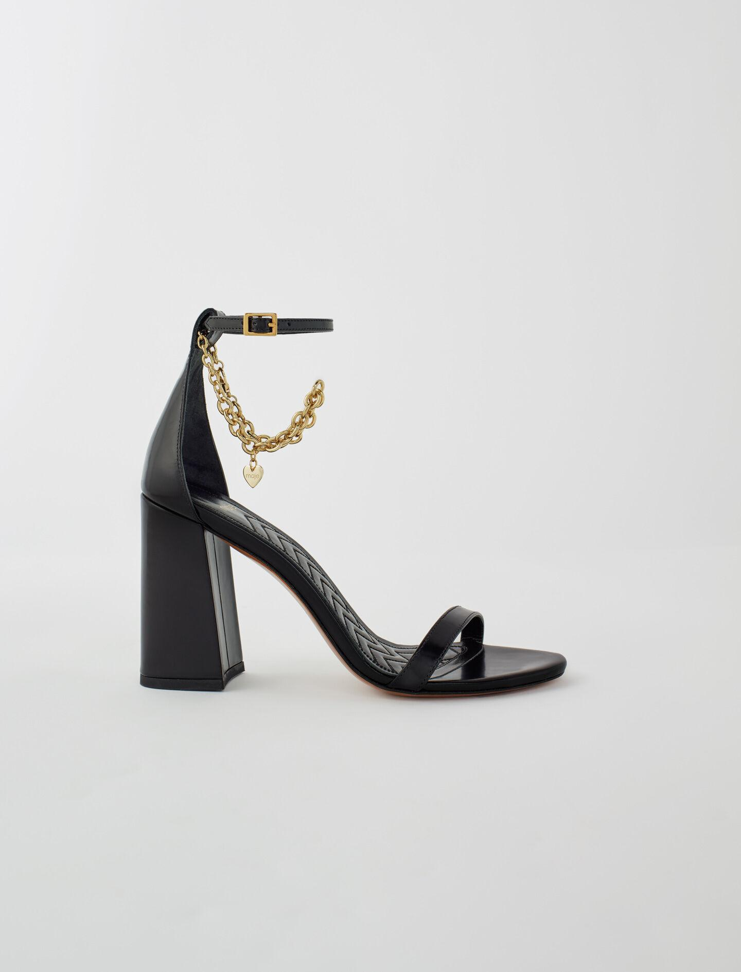 HIGH HEEL SANDALS WITH GOLD-TONE CHAIN
