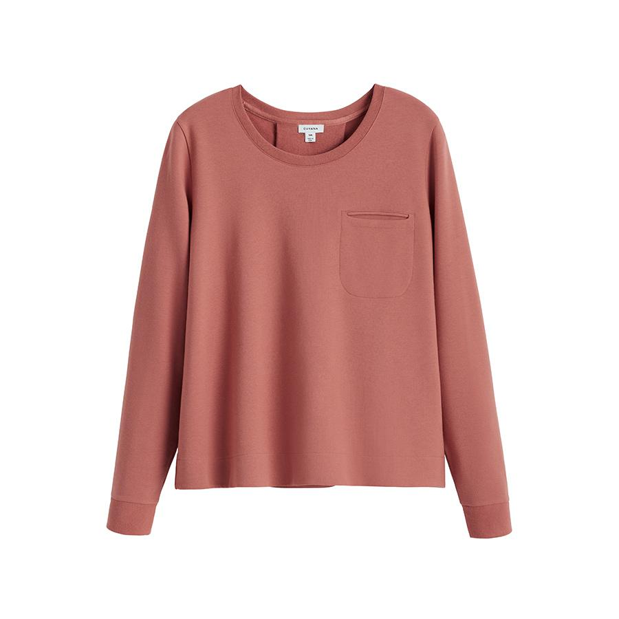 Women's French Terry Pleat-Back Sweatshirt in Passion Fruit | Size: