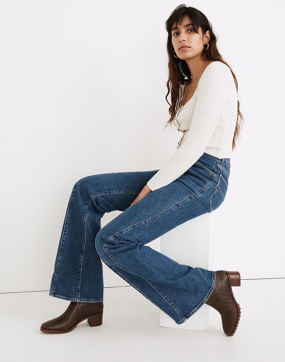 """11"""" High-Rise Flare Jeans in Marcy Wash: Seamed Edition"""
