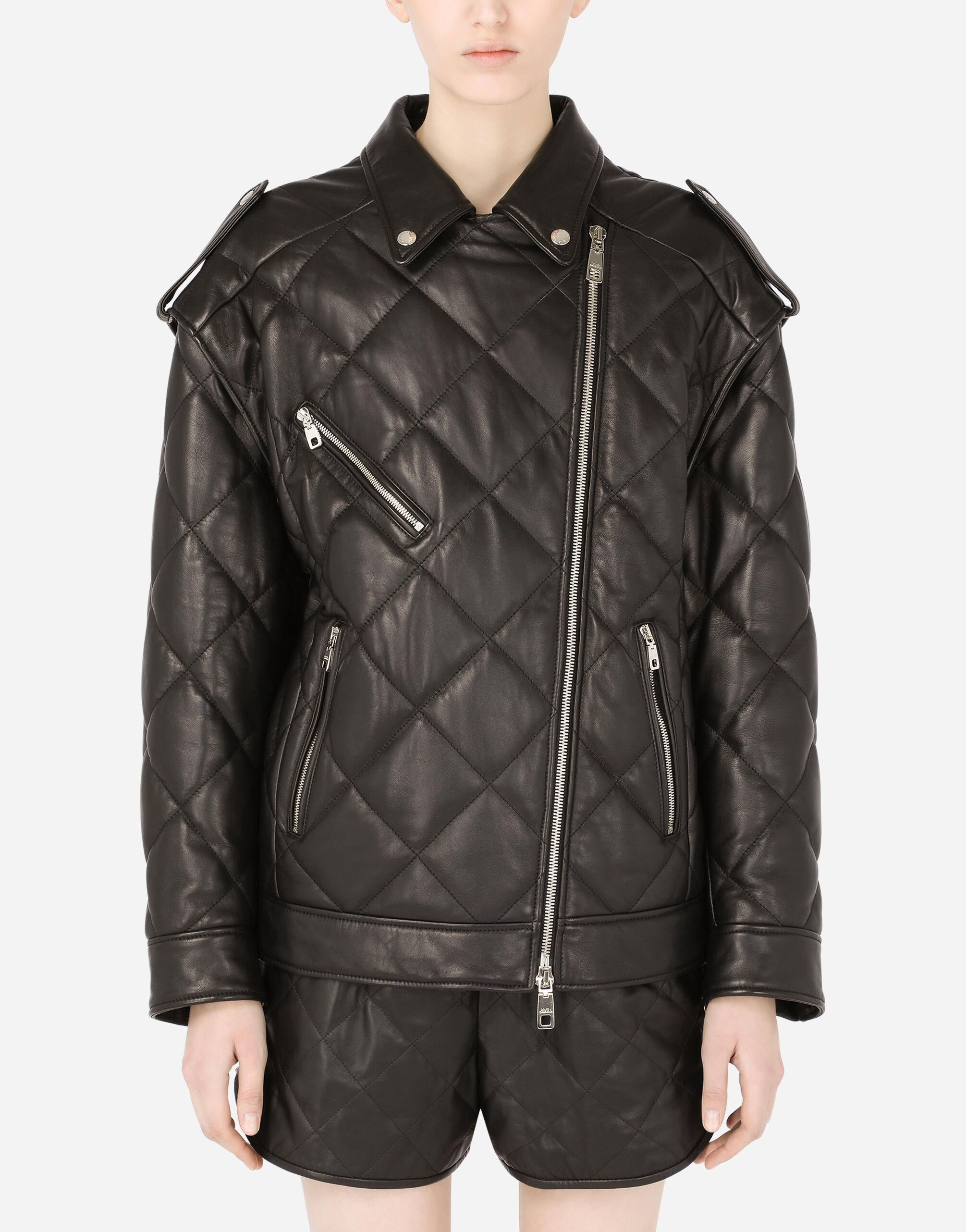 Quilted leather biker jacket with epaulets