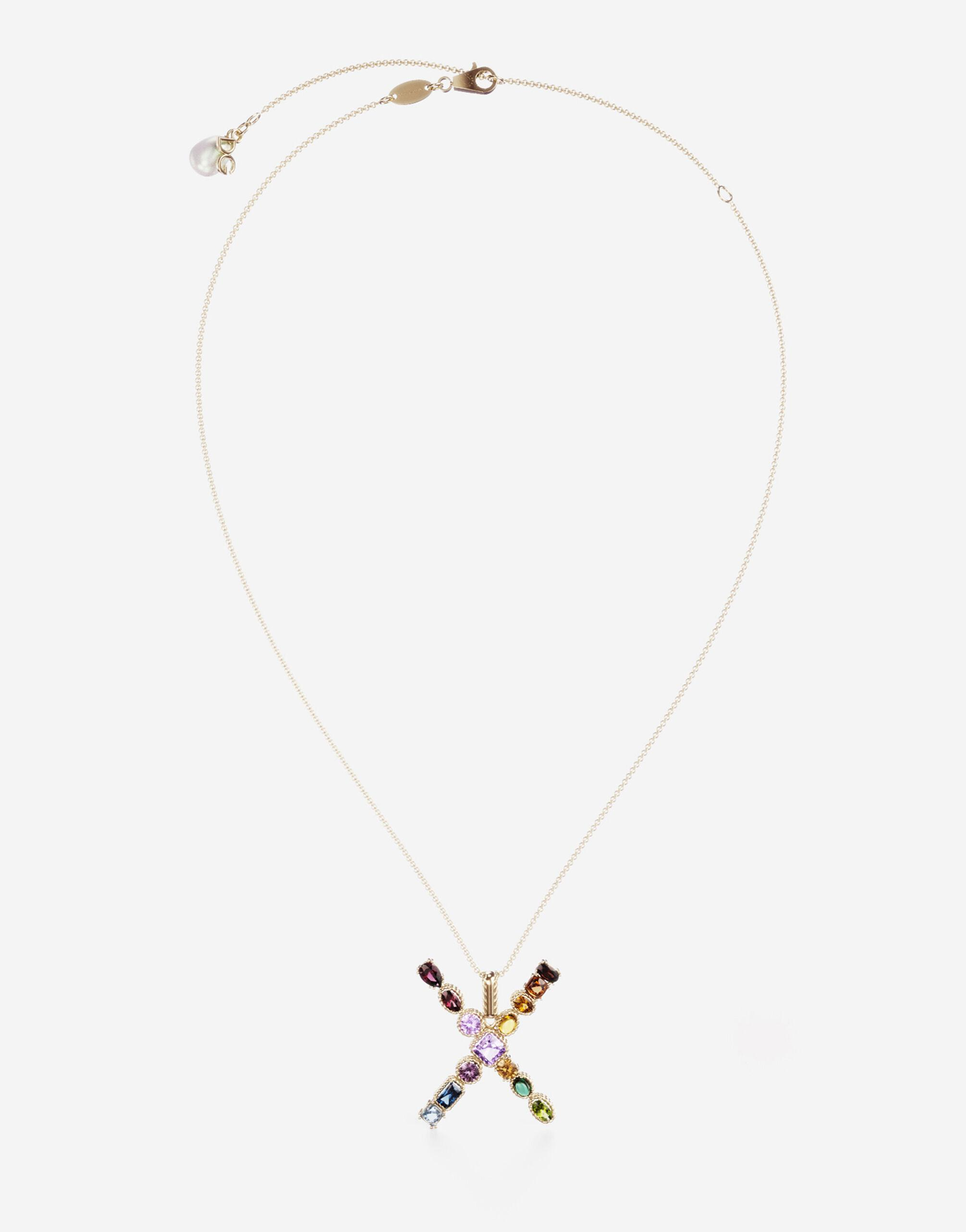Rainbow alphabet X pendant in yellow gold with multicolor fine gems
