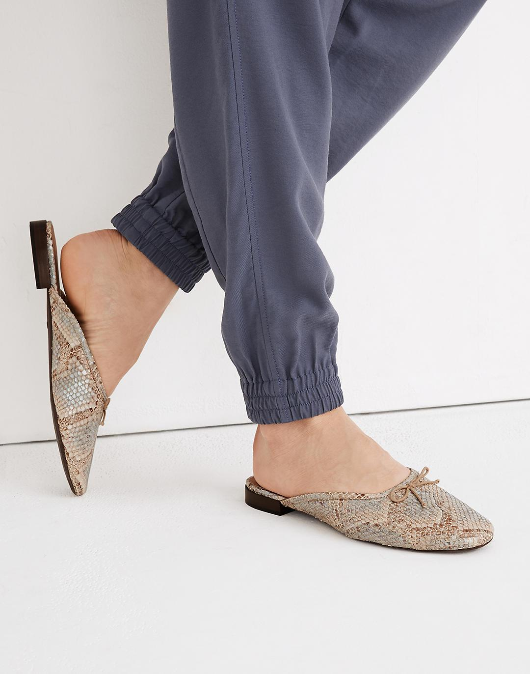 The Adelle Ballet Mule in Snake Embossed Leather 3