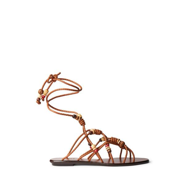 Beaded Lace-Up Sandal
