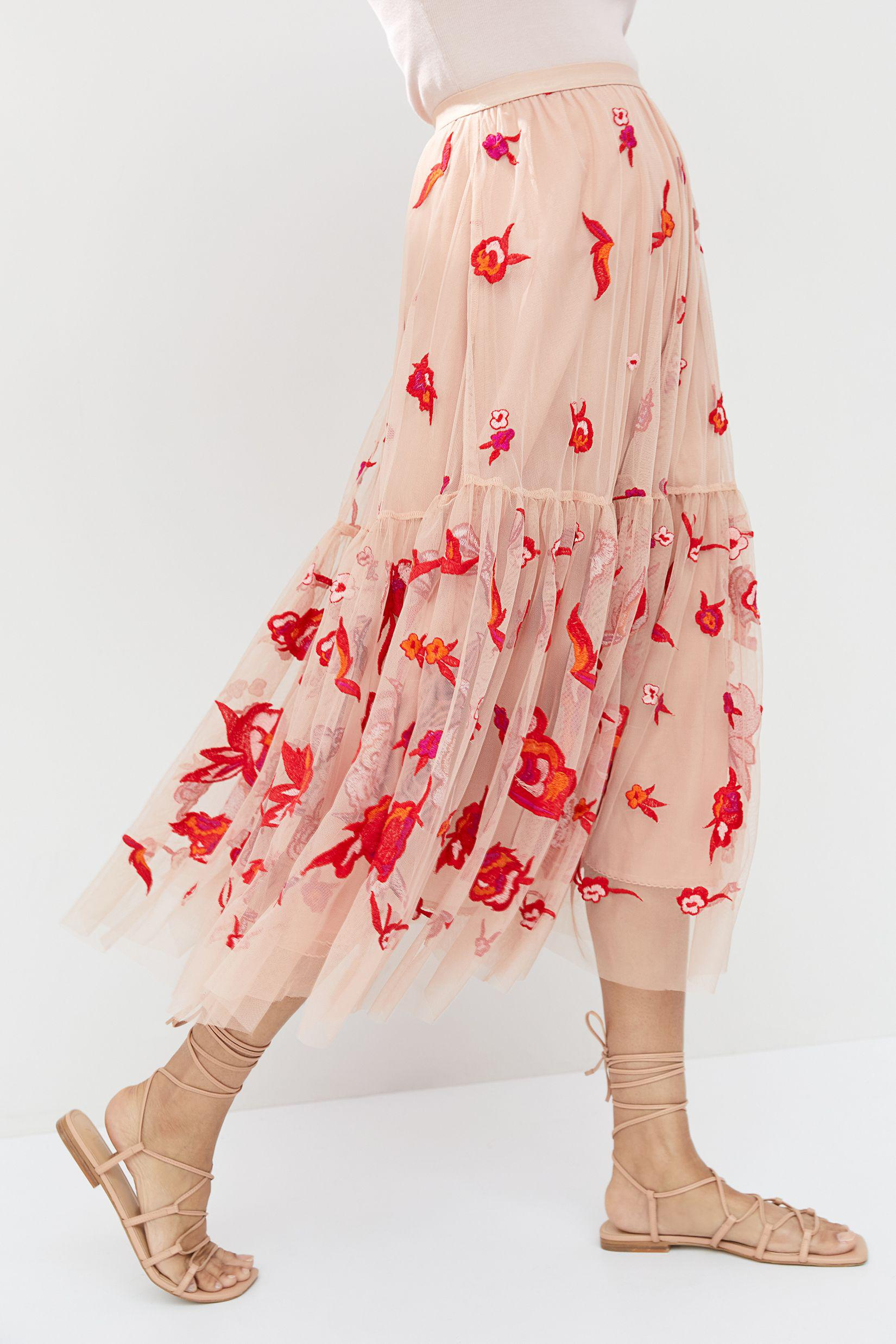 Maeve Embroidered Tulle Maxi Skirt 2
