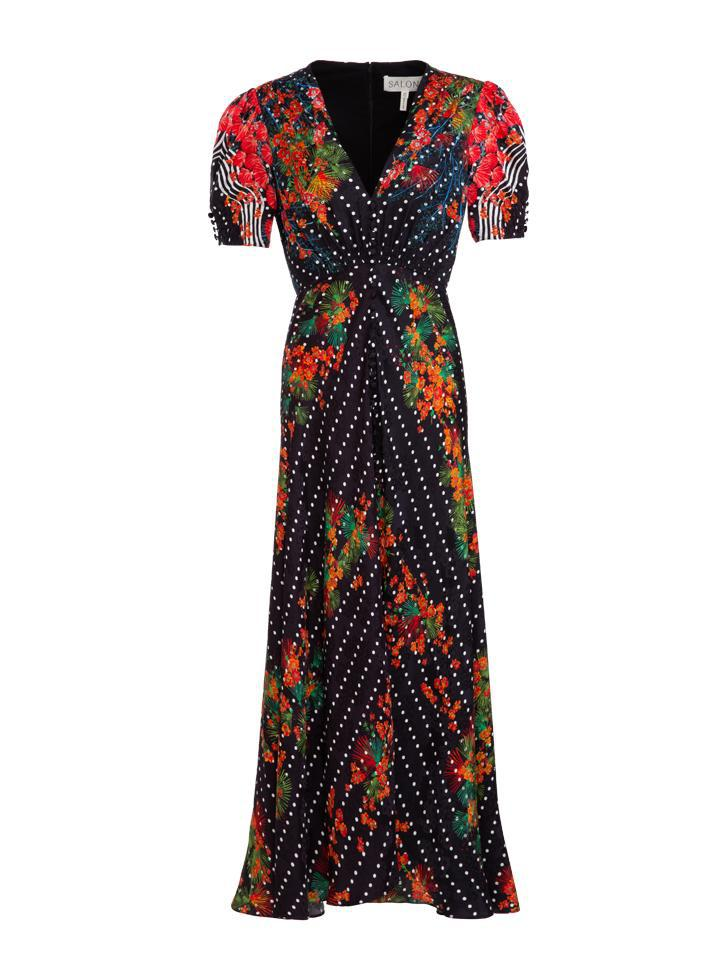Lea Long Dress in Coral Blossom print 0