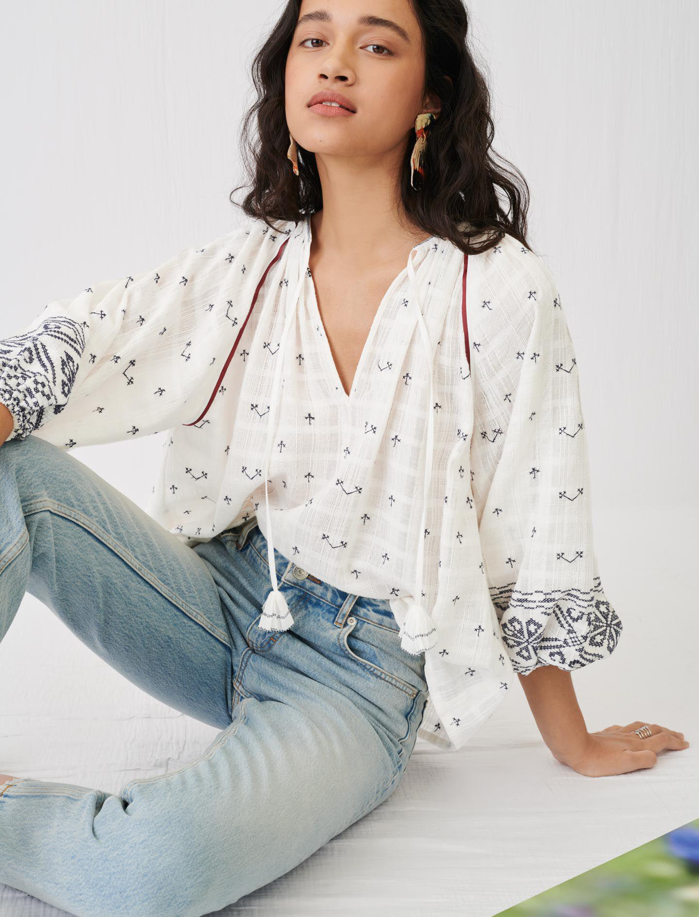 EMBROIDERY BLOUSE WITH TASSEL TIES
