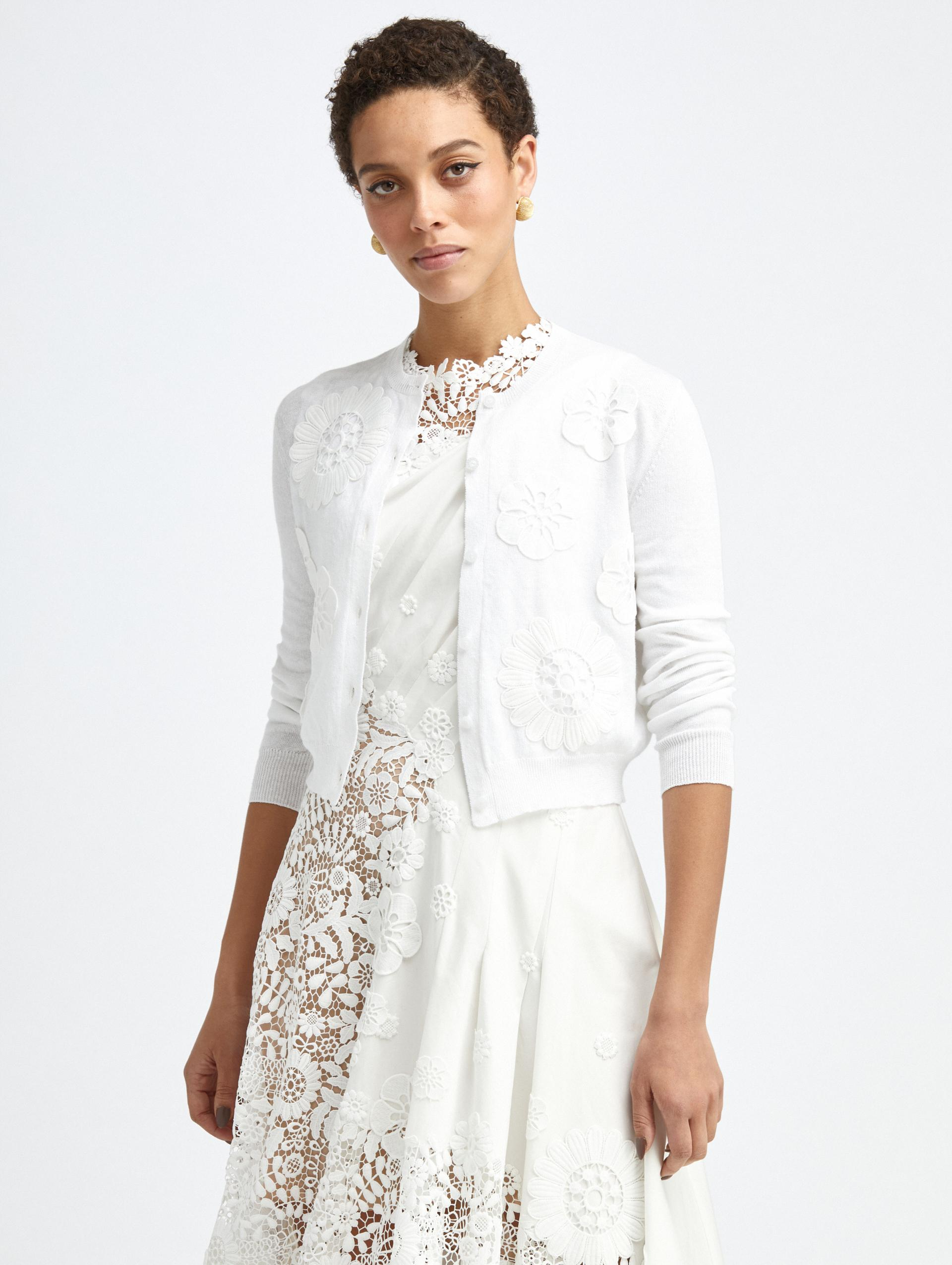 EMBROIDERED IVORY KNIT CARDIGAN 0