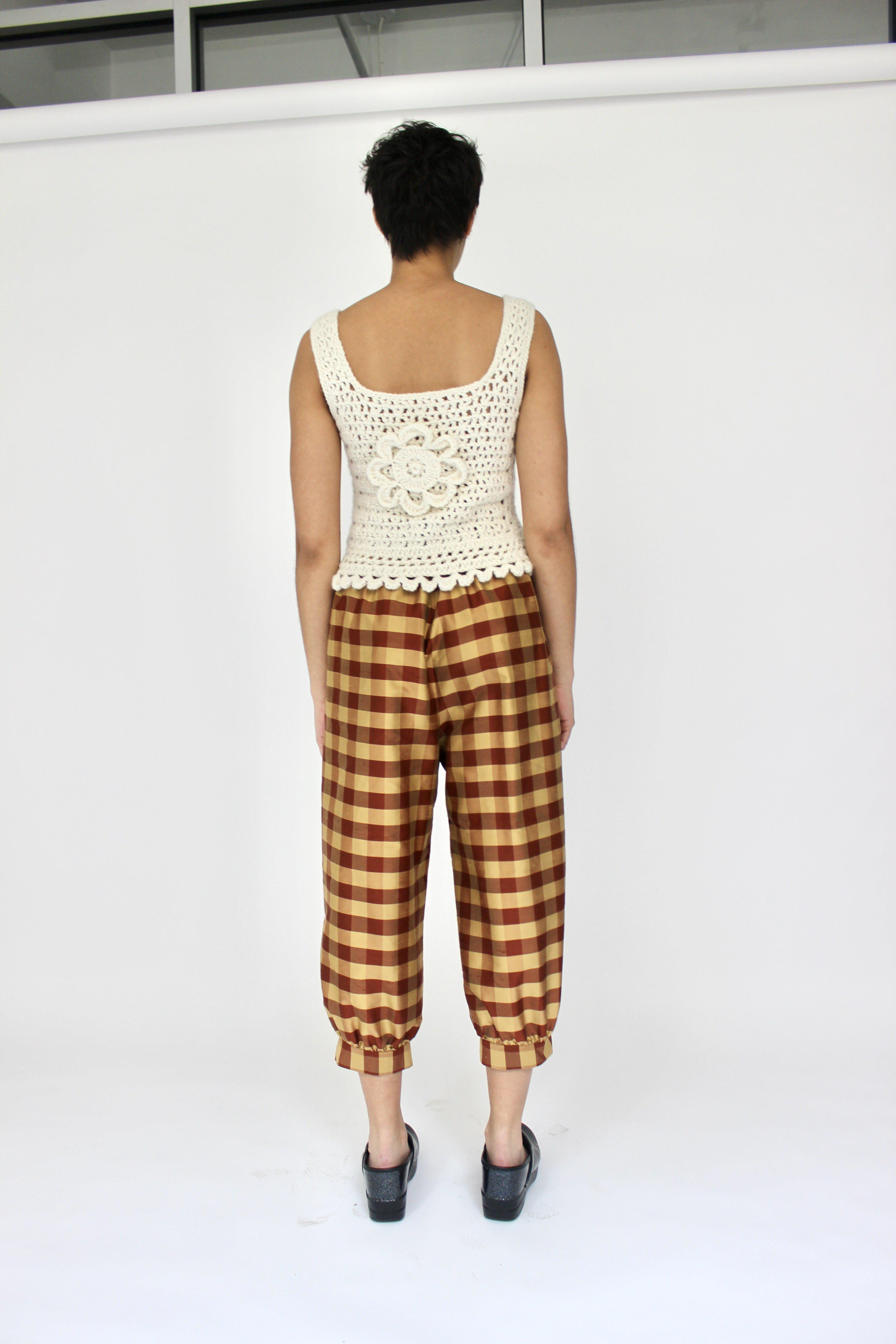 Tie Pant in Rust and Gold Gingham Silk Shantung 2