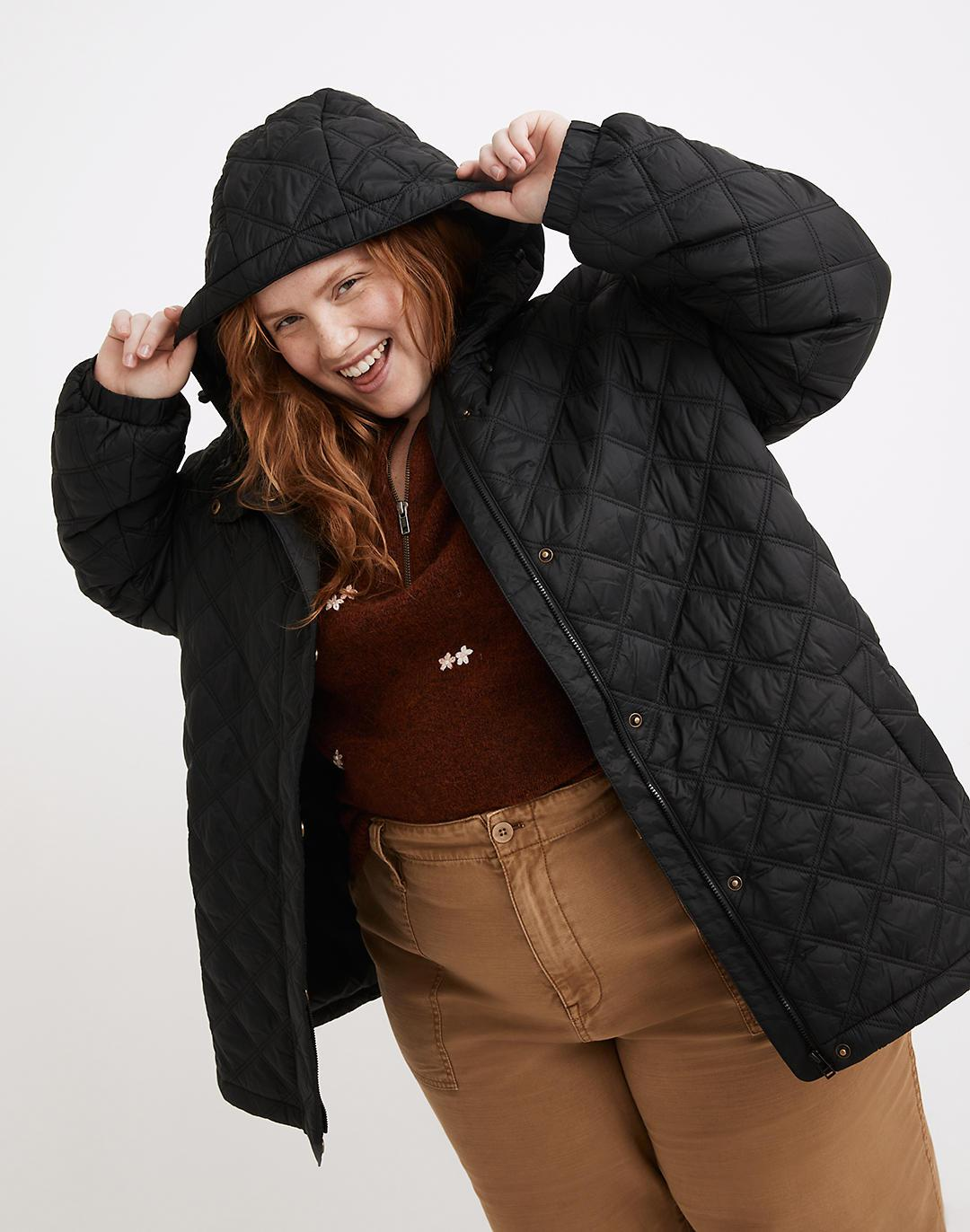 Plus Addition Quilted Packable Puffer Jacket