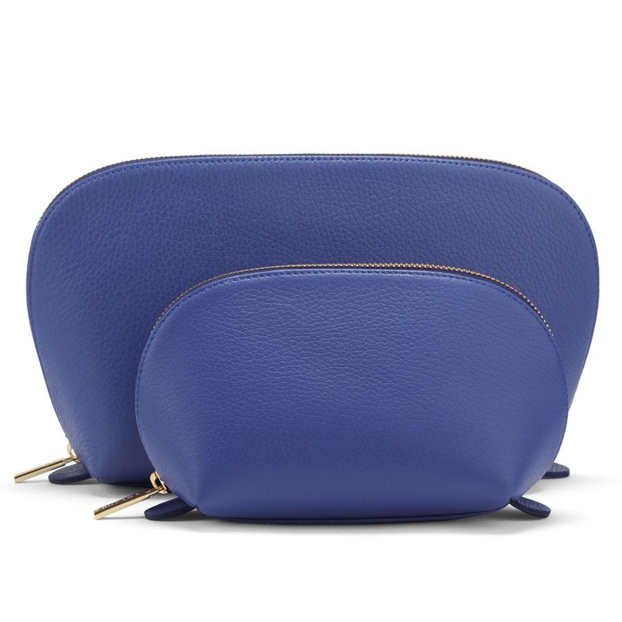 Women's Leather Travel Case Set in Sapphire | Pebbled Leather by Cuyana