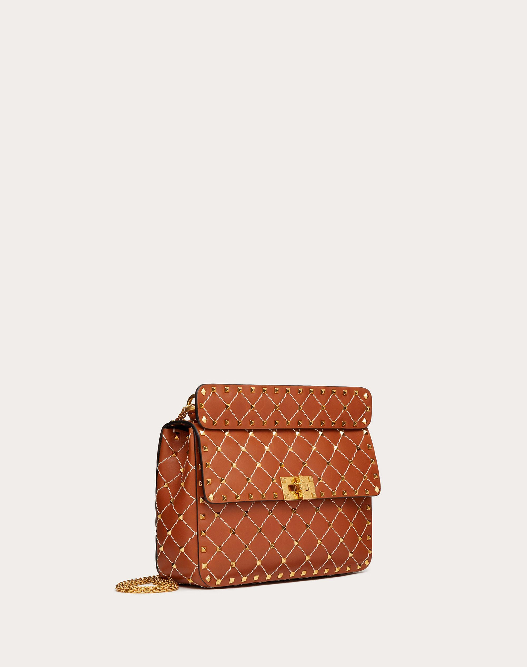 Medium Spike.It Nappa Bag with Leather Grid Detailing 1
