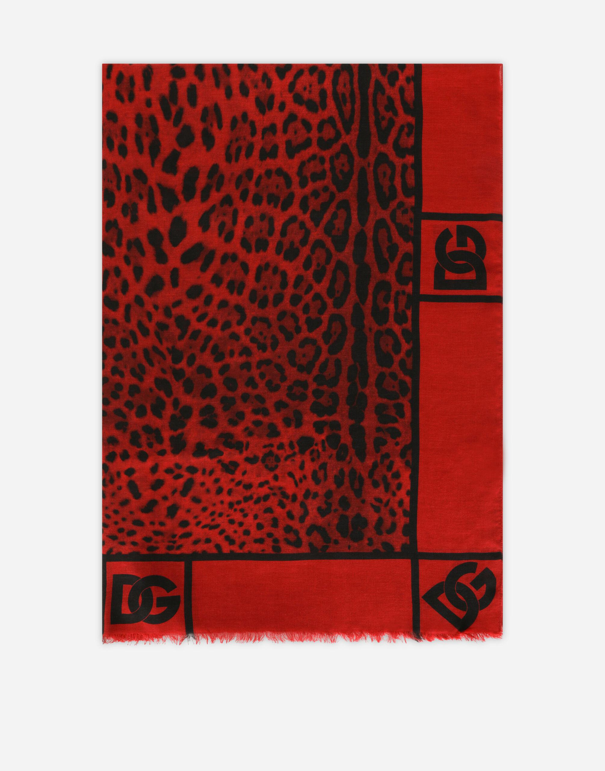 Leopard-print modal and cashmere scarf (135 x 200)