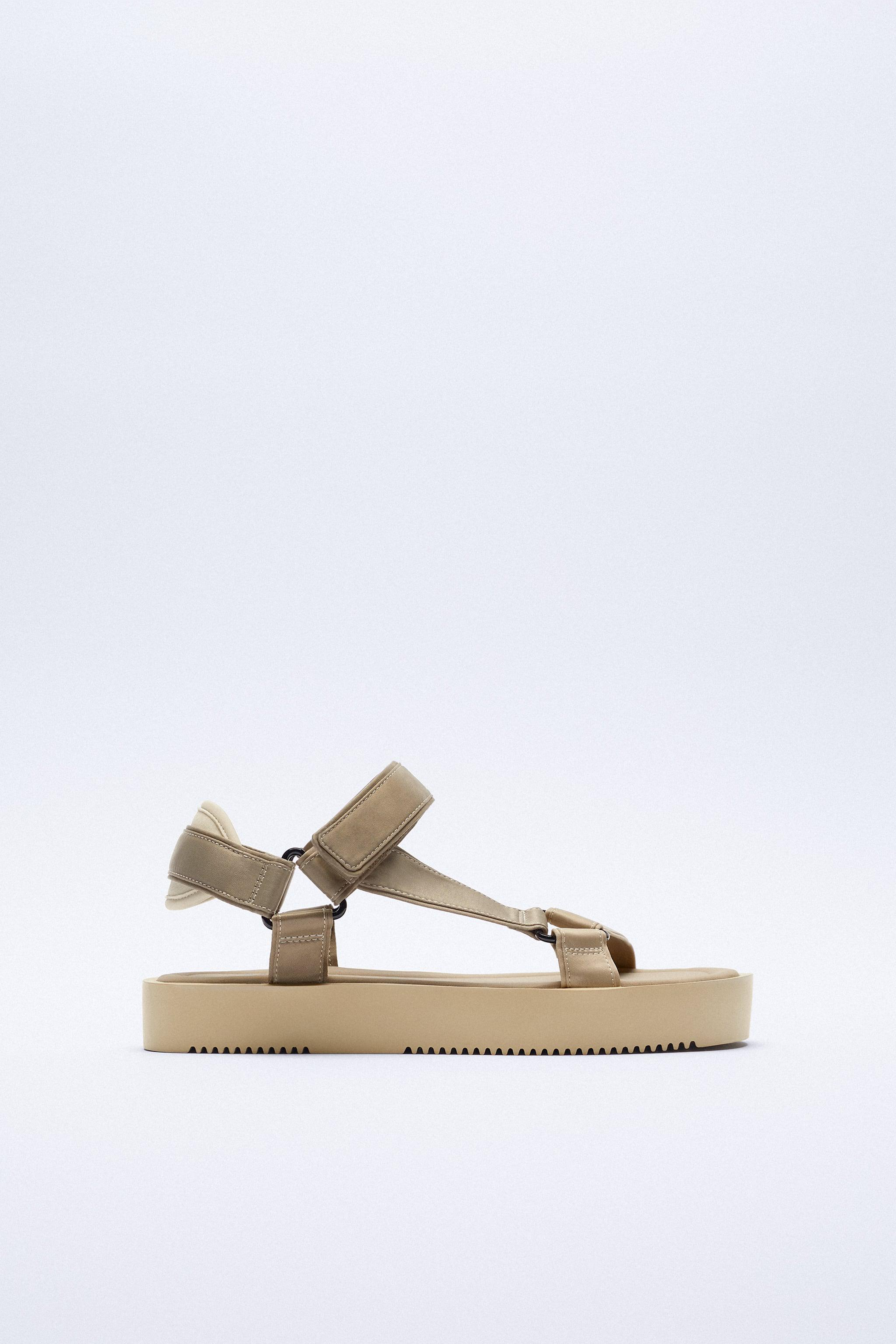 STRAPPY SATIN EFFECT CHUNKY SANDALS 3