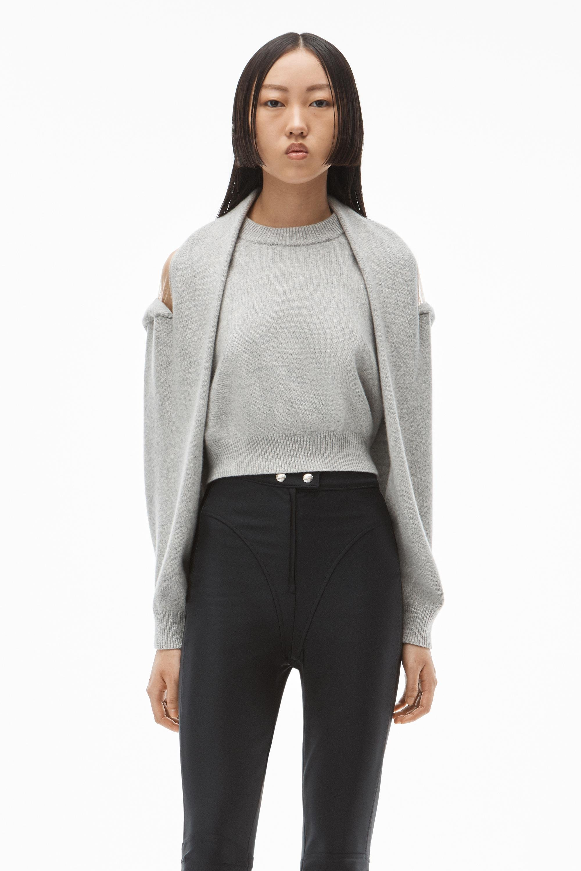pullover in illusion tulle and cashmere wool