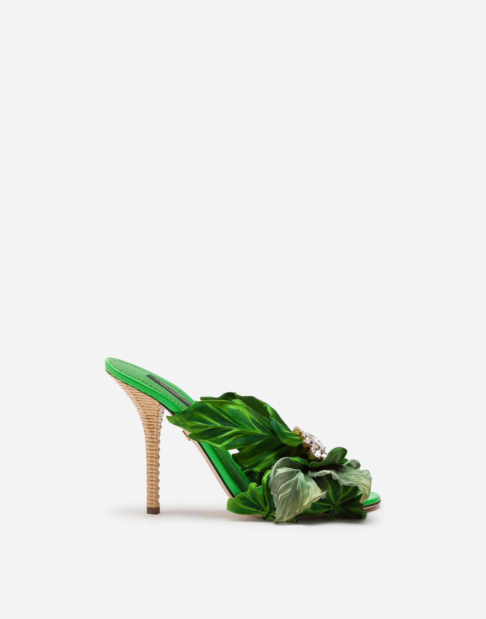 Satin mules with leaf appliqué and jewel embroidery