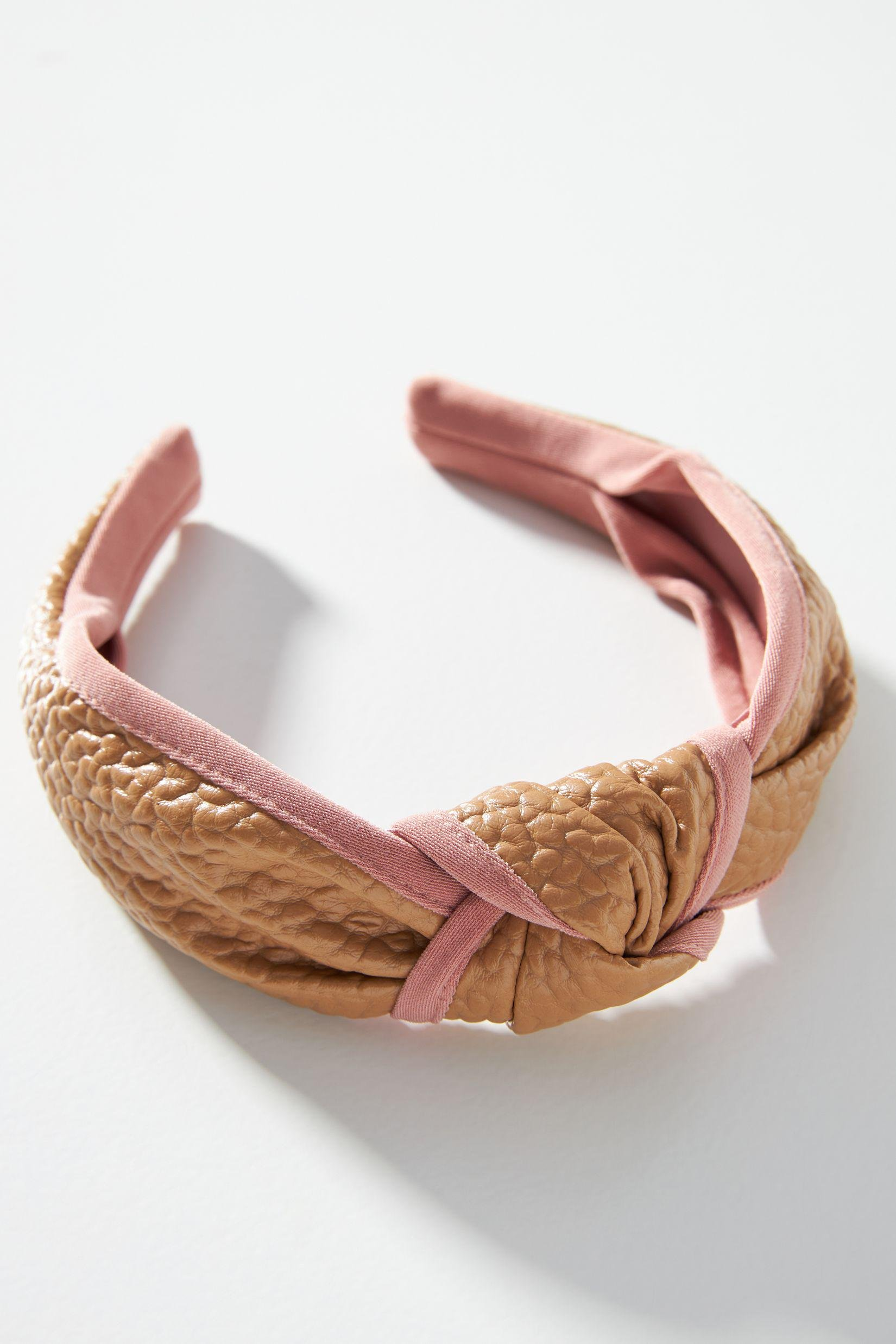 Faux Leather-Trimmed Headband
