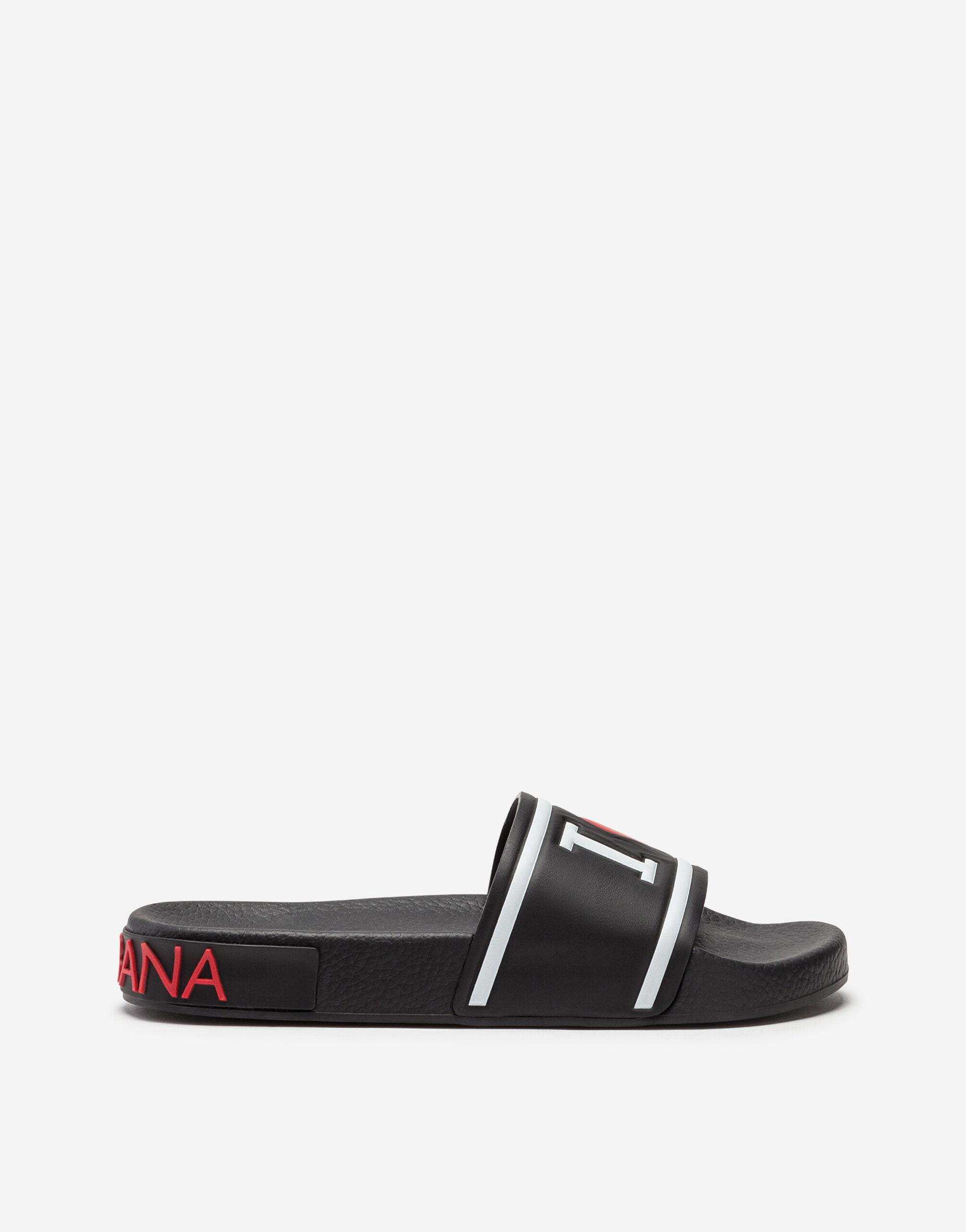 Rubber and calfskin sliders with high-frequency detailing