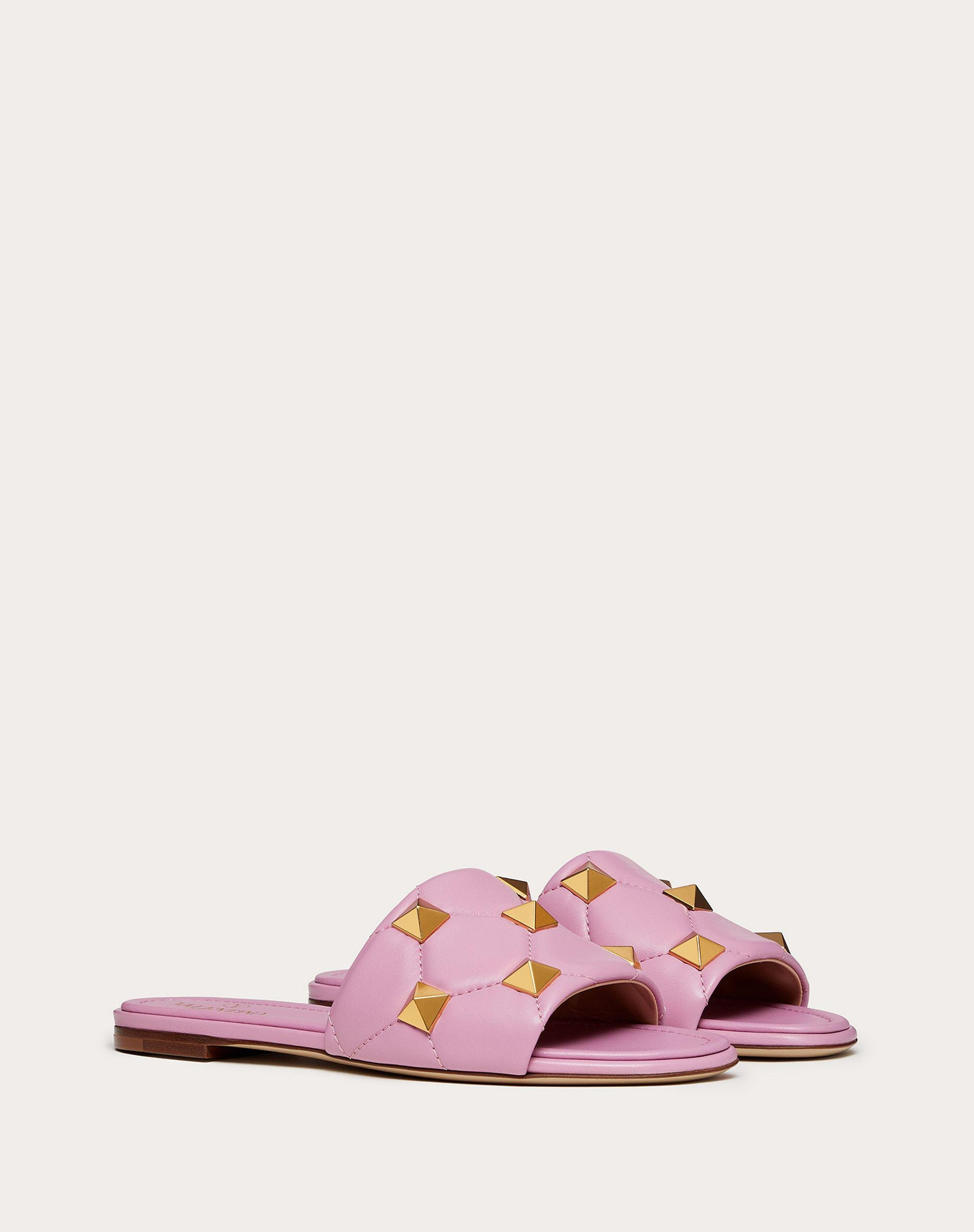 ROMAN STUD FLAT SLIDE SANDAL IN QUILTED NAPPA 1