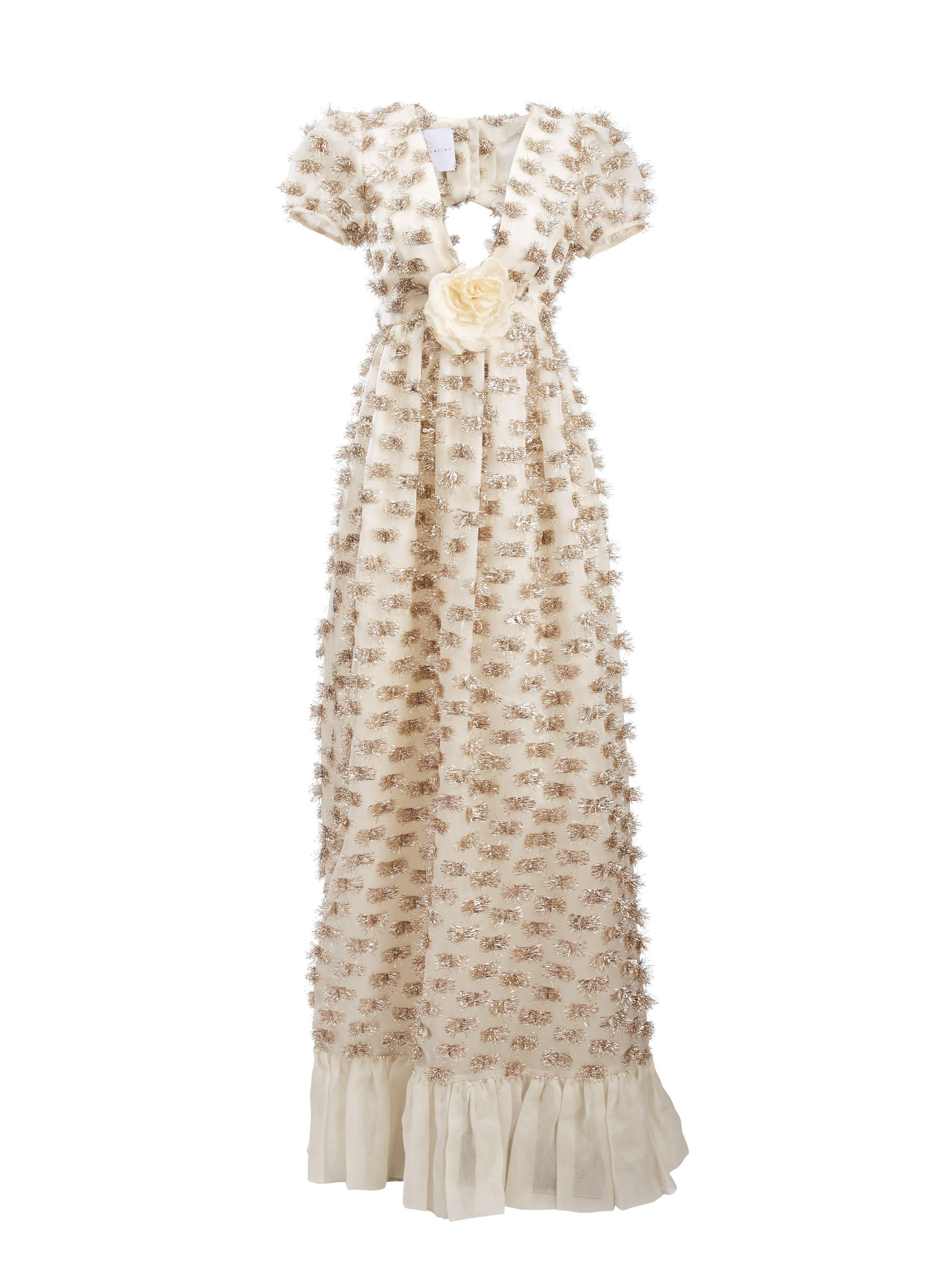 Forget Me Not White and Gold Gown 1