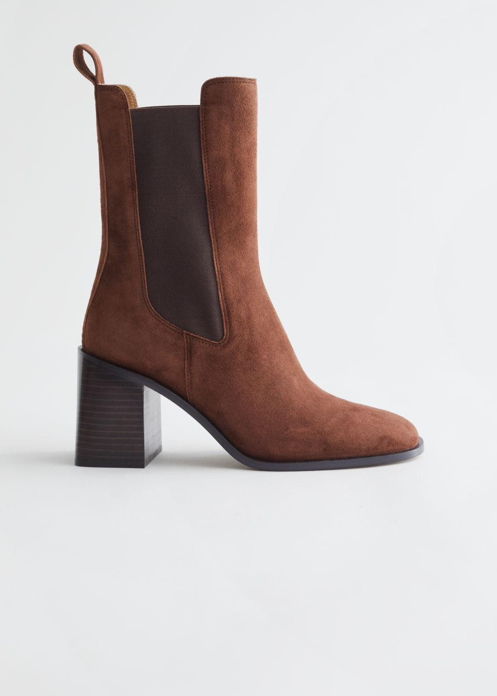 Heeled Leather Chelsea Boots