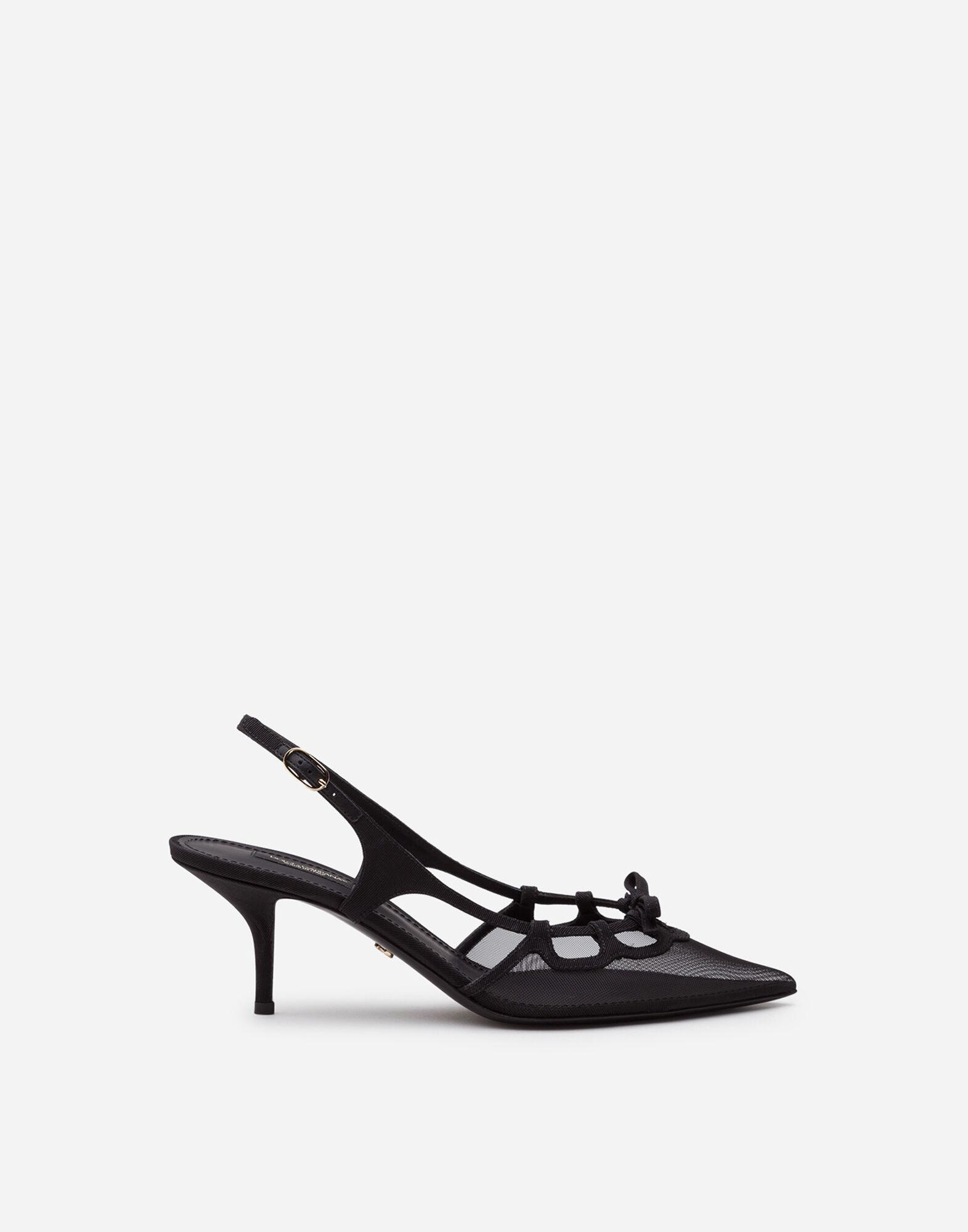 Slingback shoes in mesh and grosgrain