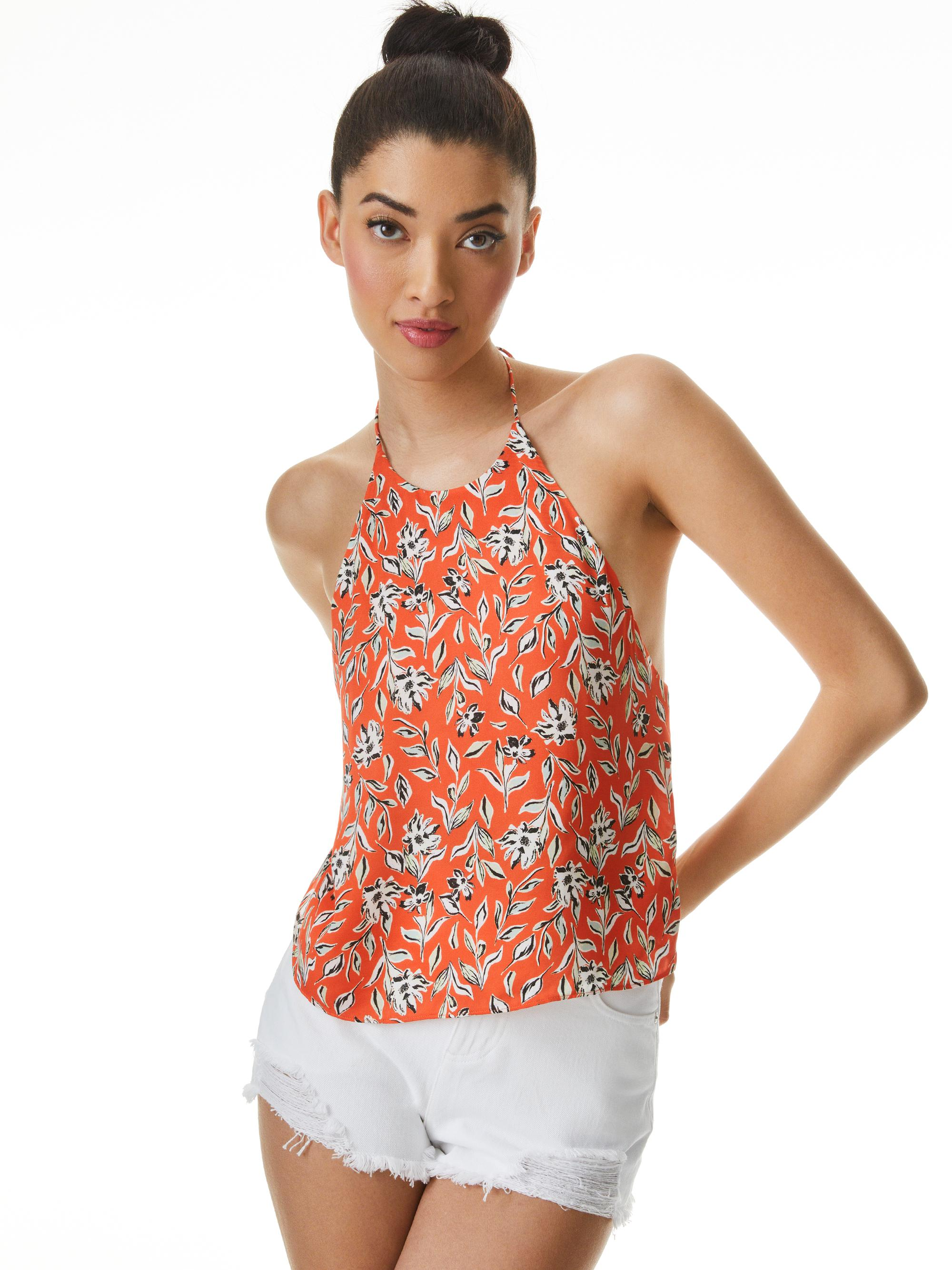 FRENCHIE PRINTED HALTER TOP