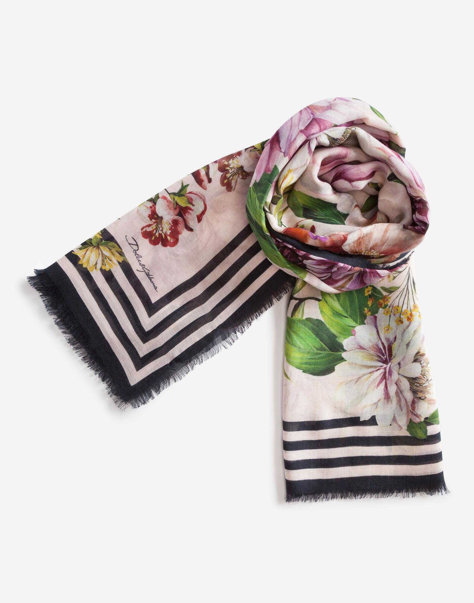 Floral rose print foulard in cashmere and modal 140 x 140cm - 55 x 55 inches