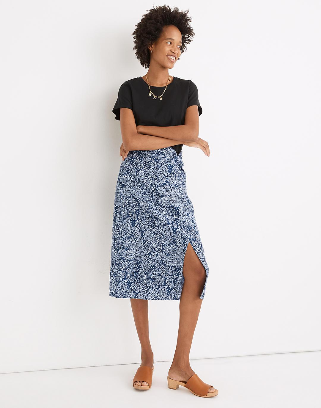 Linen-Blend Knotted Midi Skirt in Paisley Garden