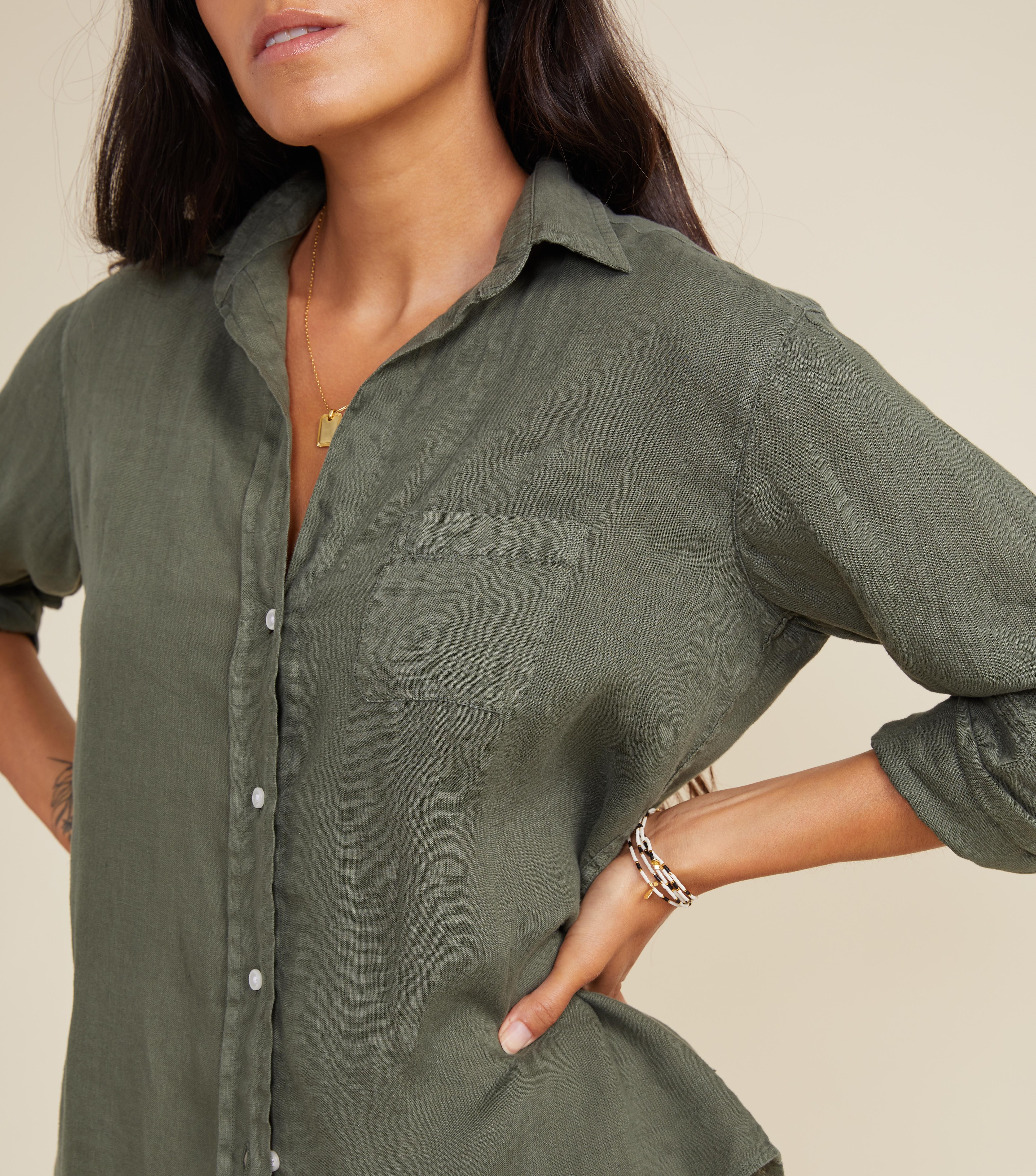 The Hero Button-Up Shirt Army Green, Tumbled Linen 1