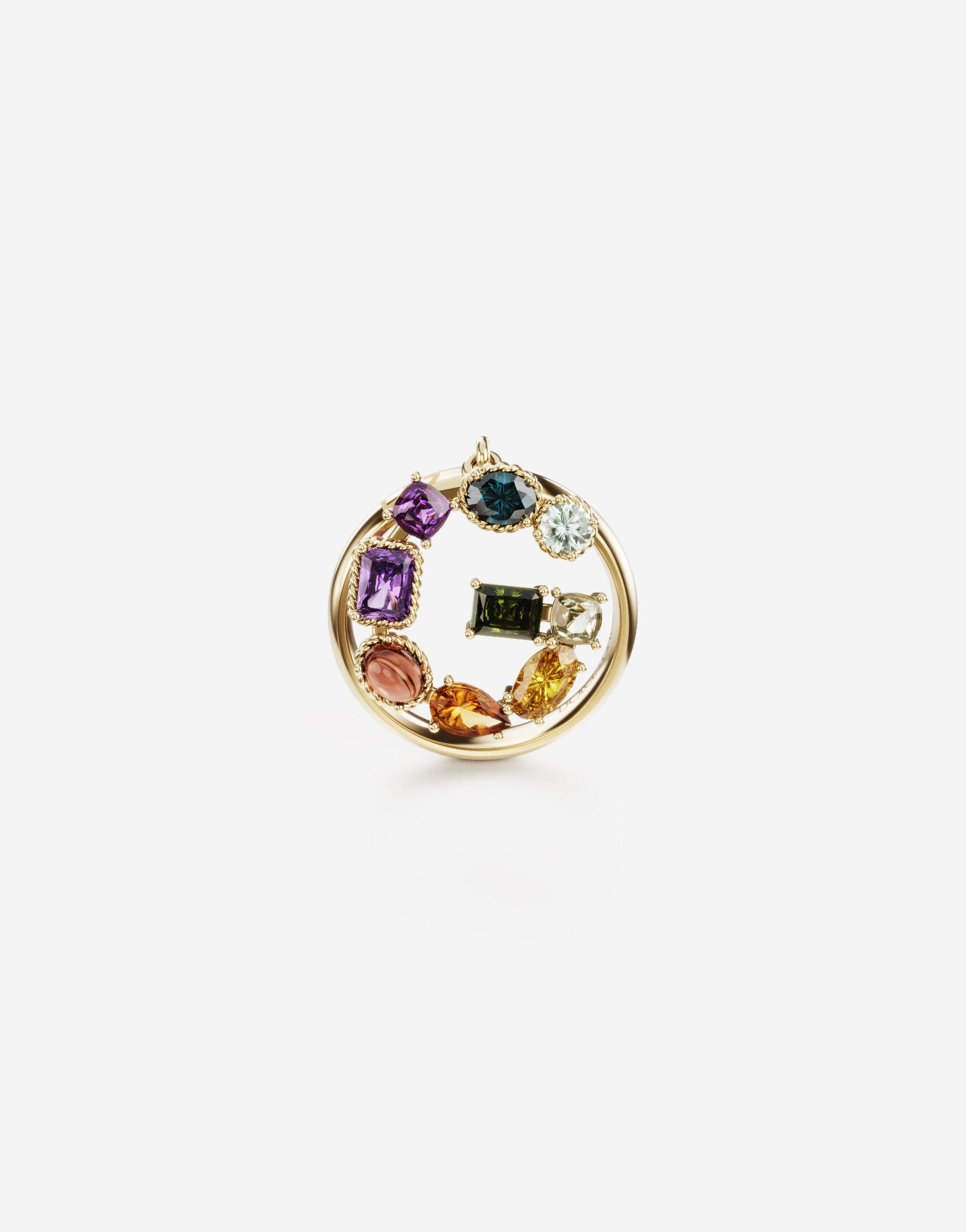 Rainbow alphabet G ring in yellow gold with multicolor fine gems