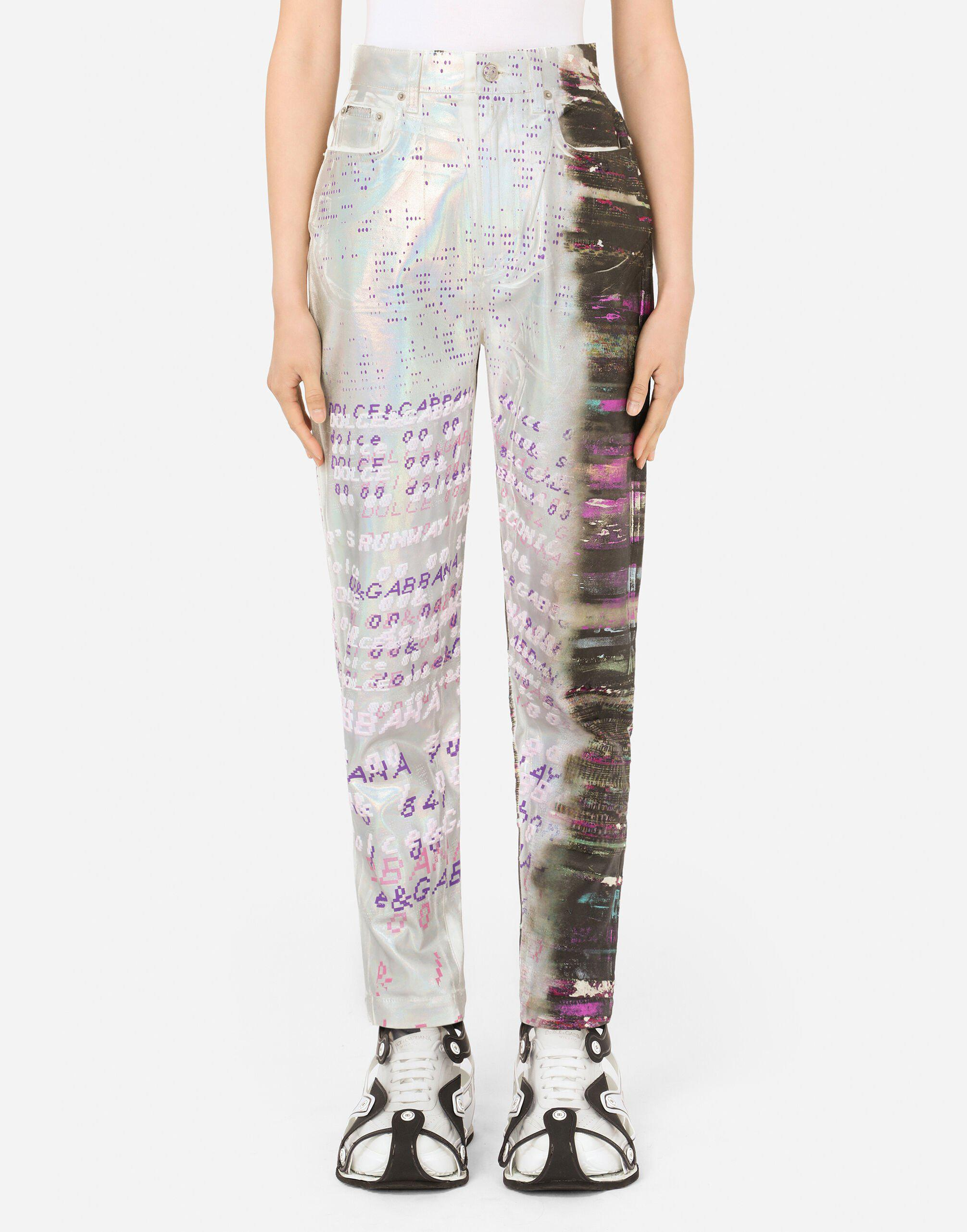 Foiled jeans with multi-colored glitch print