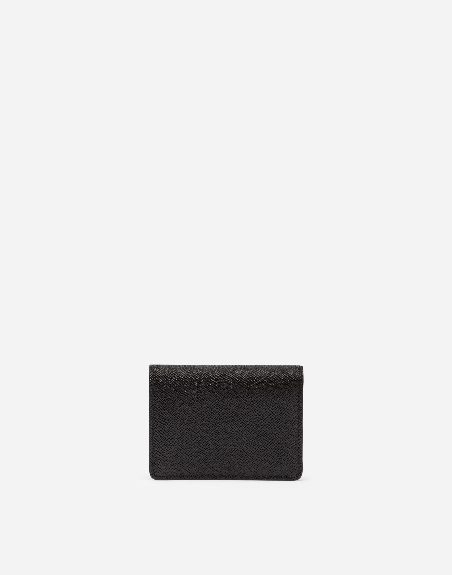 Card holder in laminate dauphine calfskin with logo crystals 2
