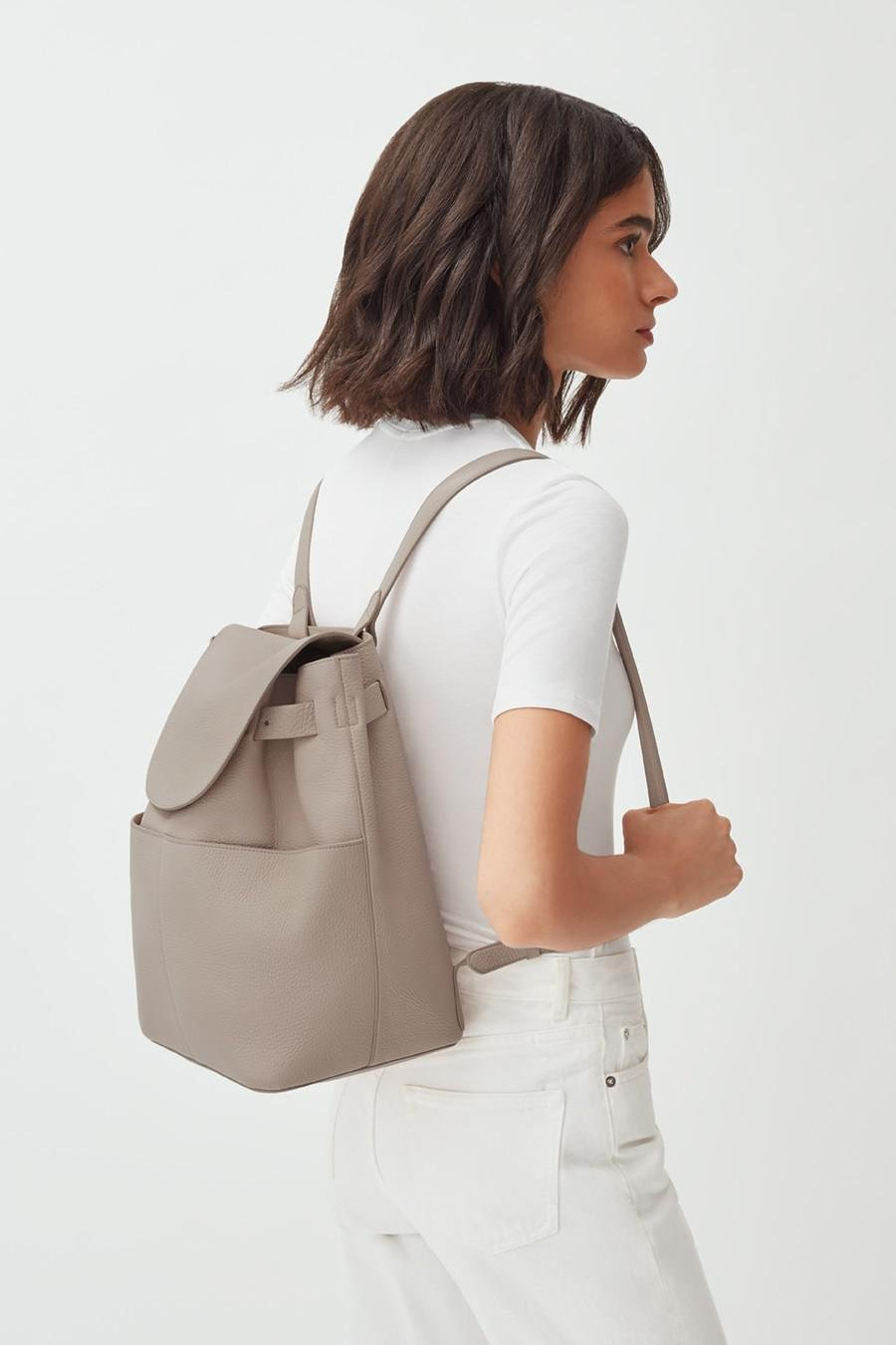 Women's Leather Backpack in Stone   Pebbled Leather by Cuyana 5