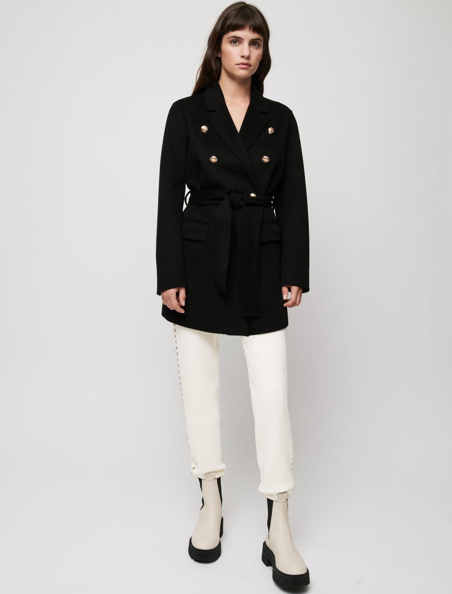BELTED COAT IN RECYCLED WOOL