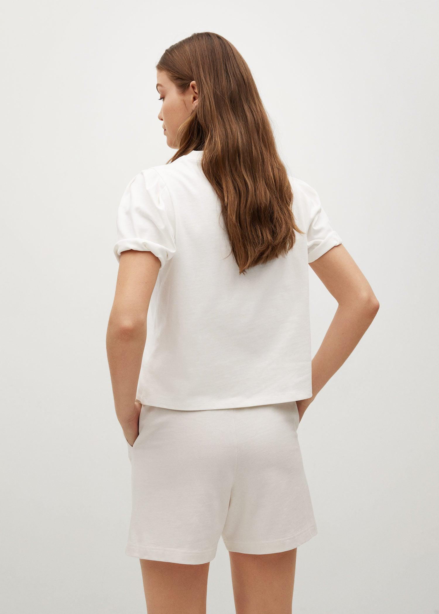 Cotton t-shirt with puffed sleeves 2