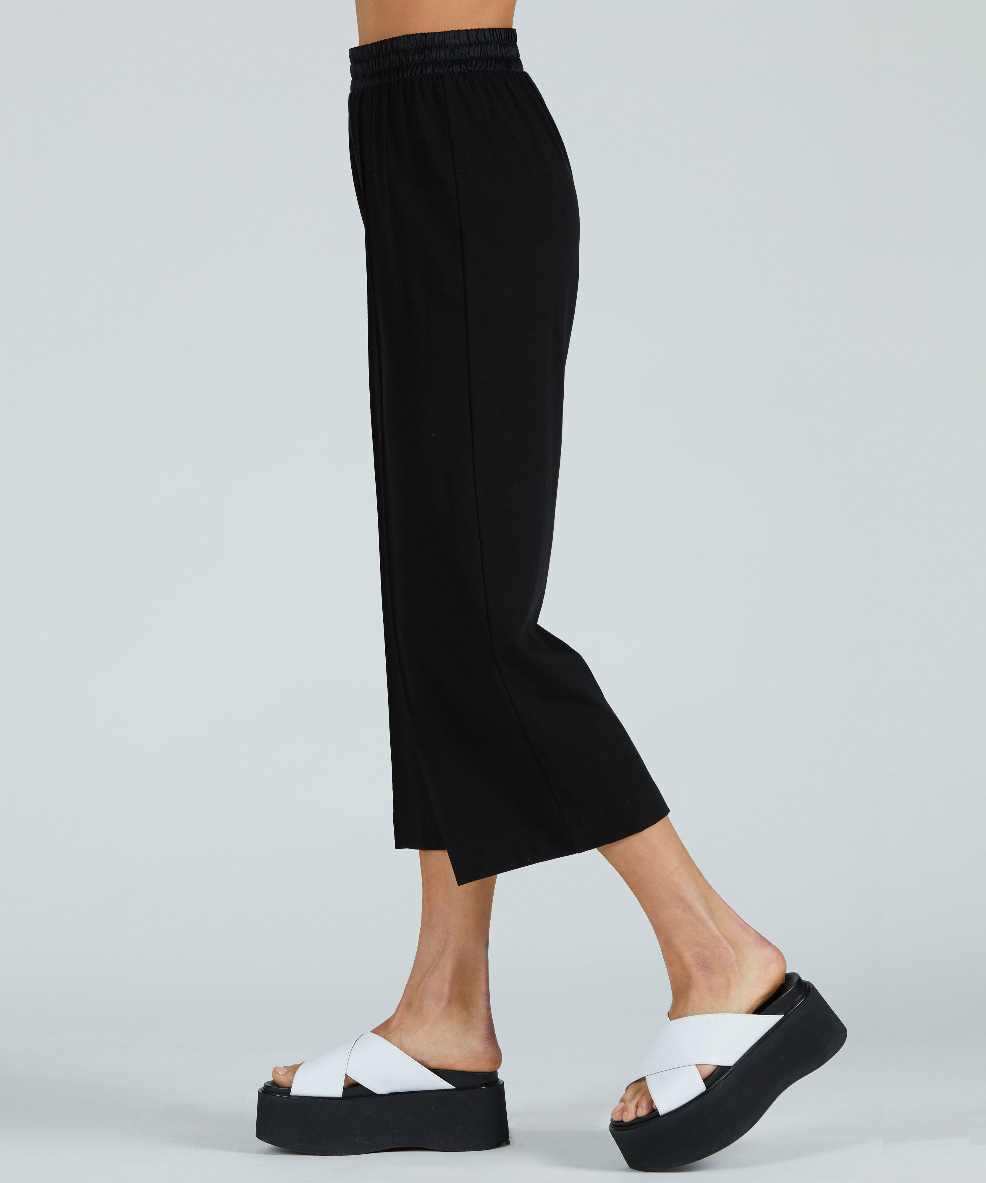 Pima Cotton Cropped Pull-On Pant - Black 1