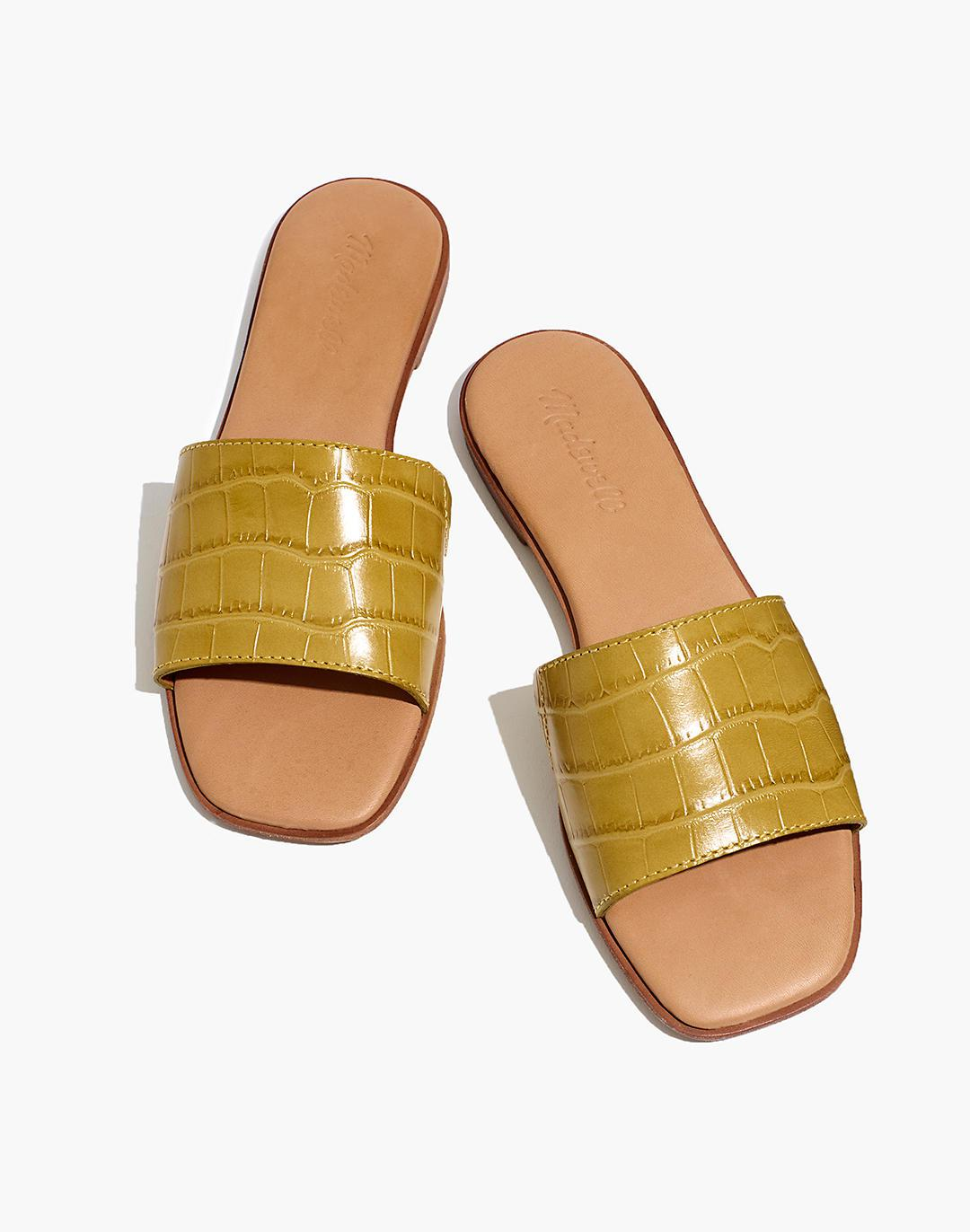 The Lianne Slide in Croc Embossed Leather