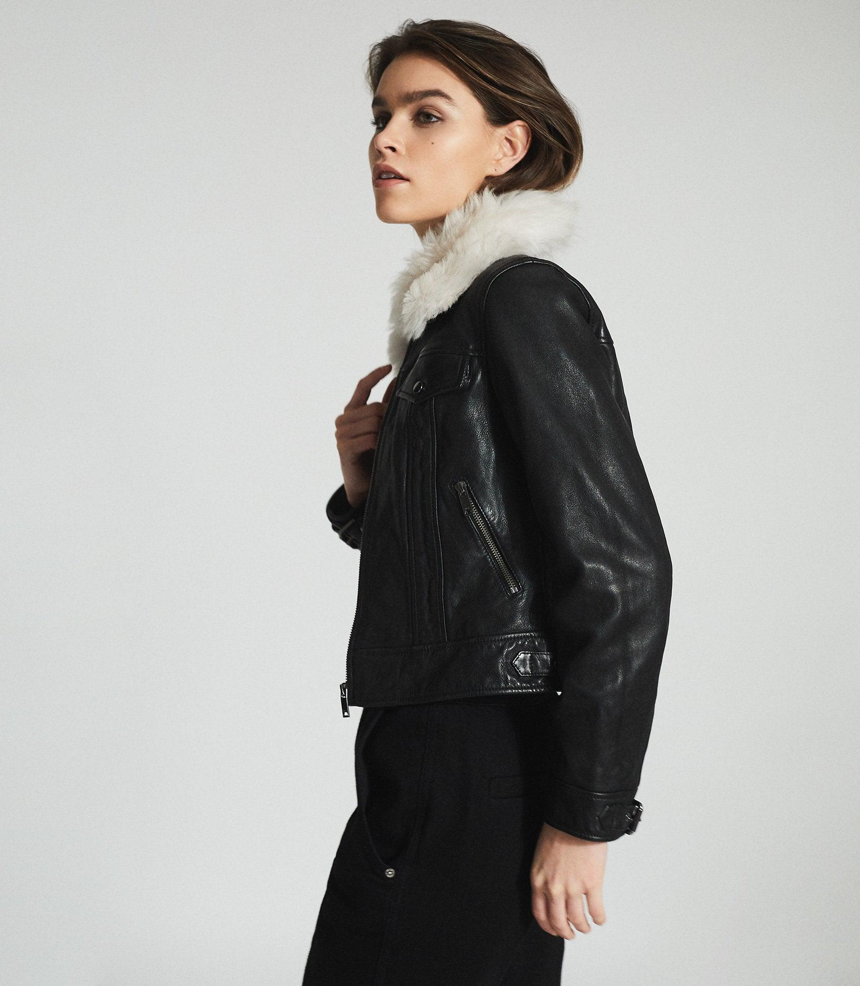 SHELLIE - LEATHER JACKET WITH SHEARING COLLAR 1