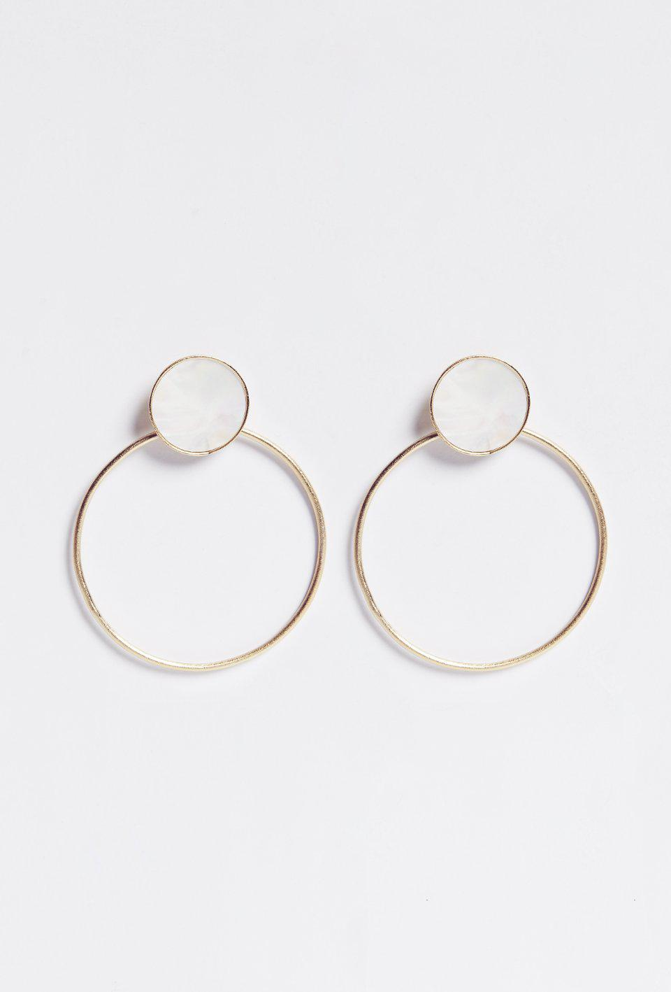 Gold Hoops with Mother of Pearl Medallion