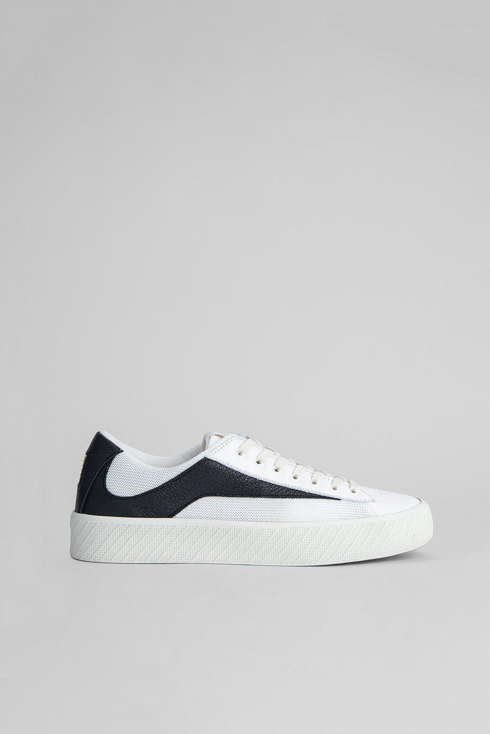 Rodina White And Black Grained Leather